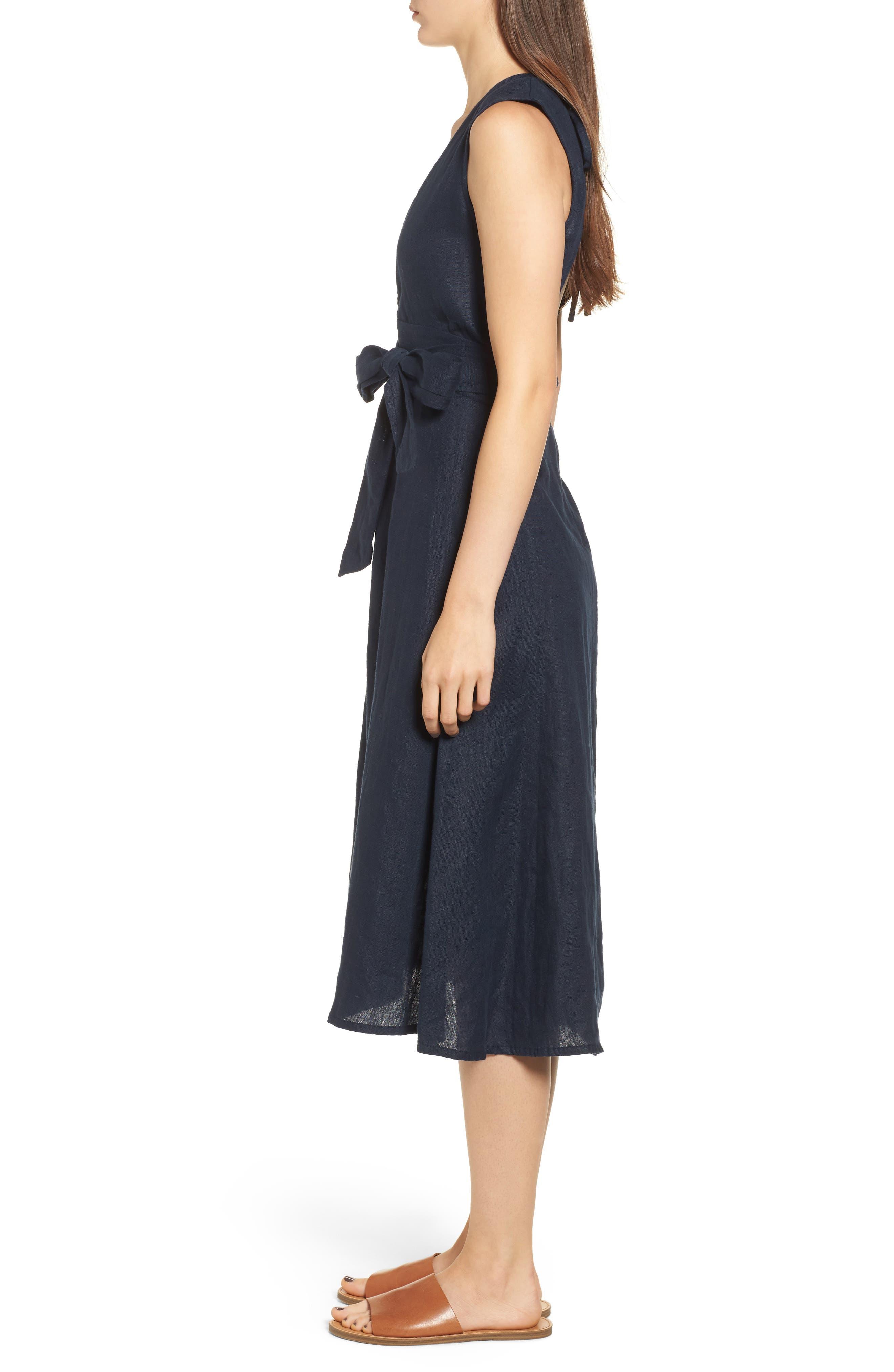 Le Roch Midi Dress,                             Alternate thumbnail 4, color,                             Plain Navy