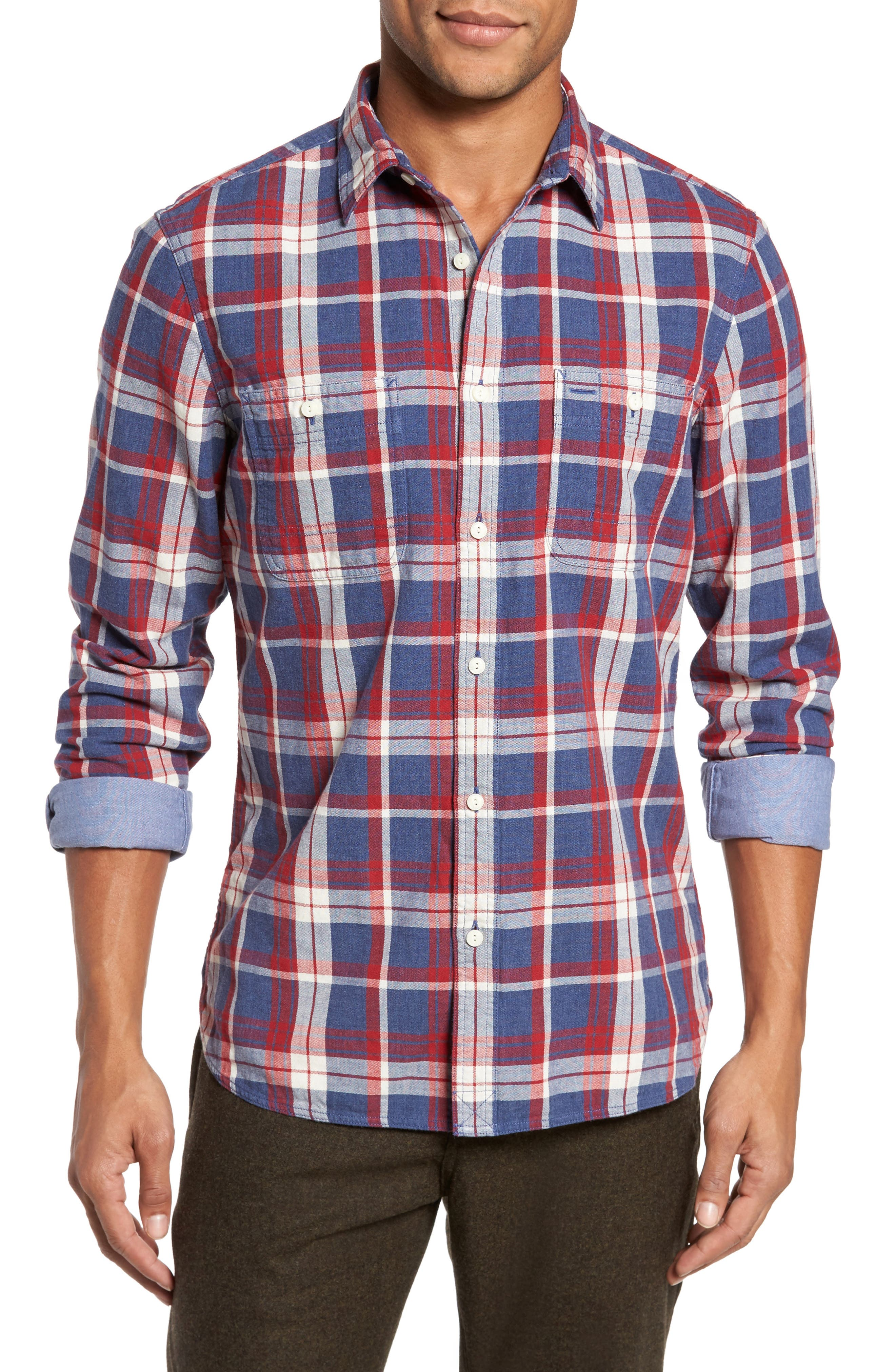 Trim Fit Workwear Duofold Plaid Sport Shirt,                         Main,                         color, Blue Ensign Red Plaid Duofold