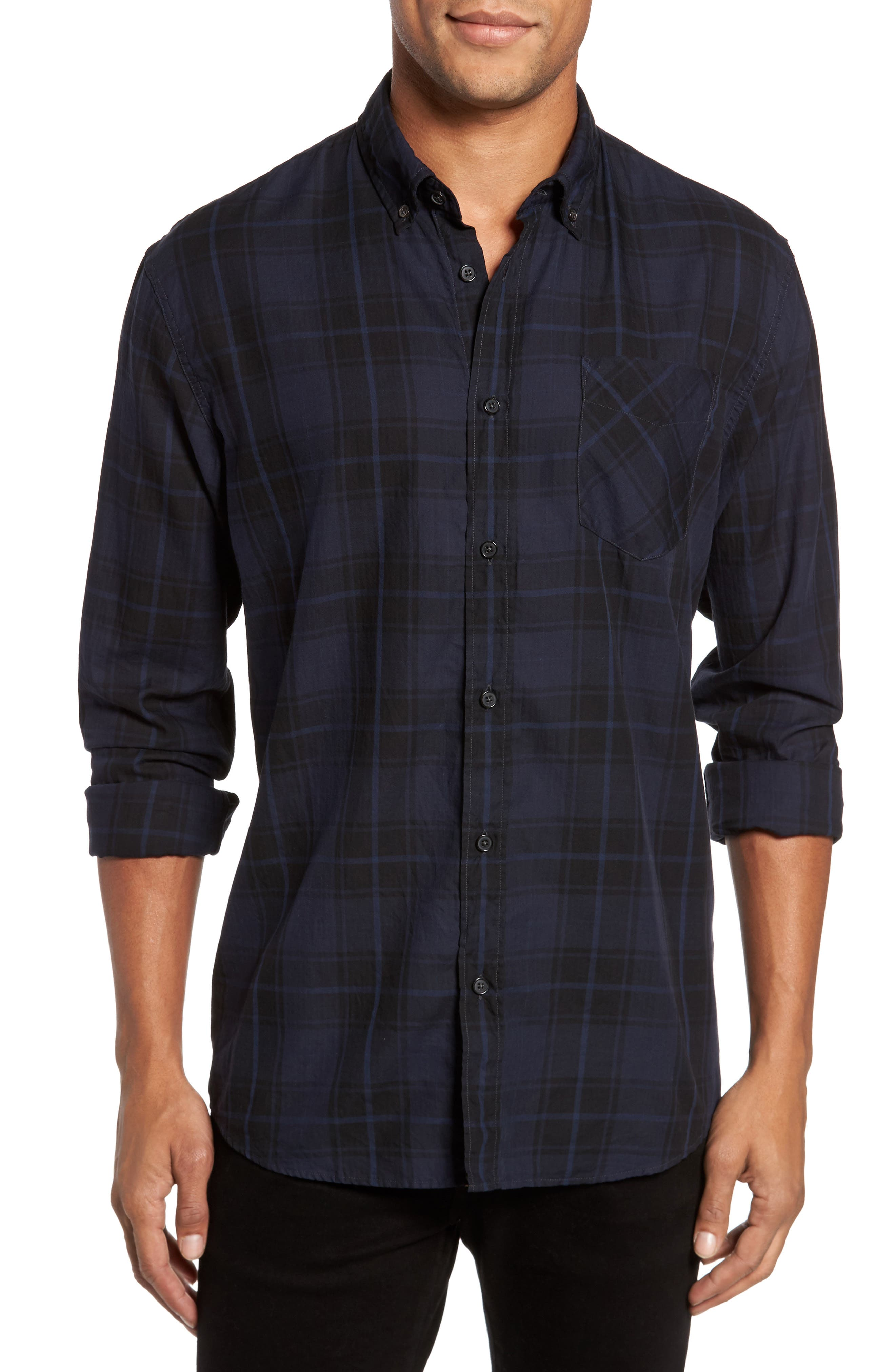 Wallace Slim Fit Sport Shirt,                         Main,                         color, Navy/ Black