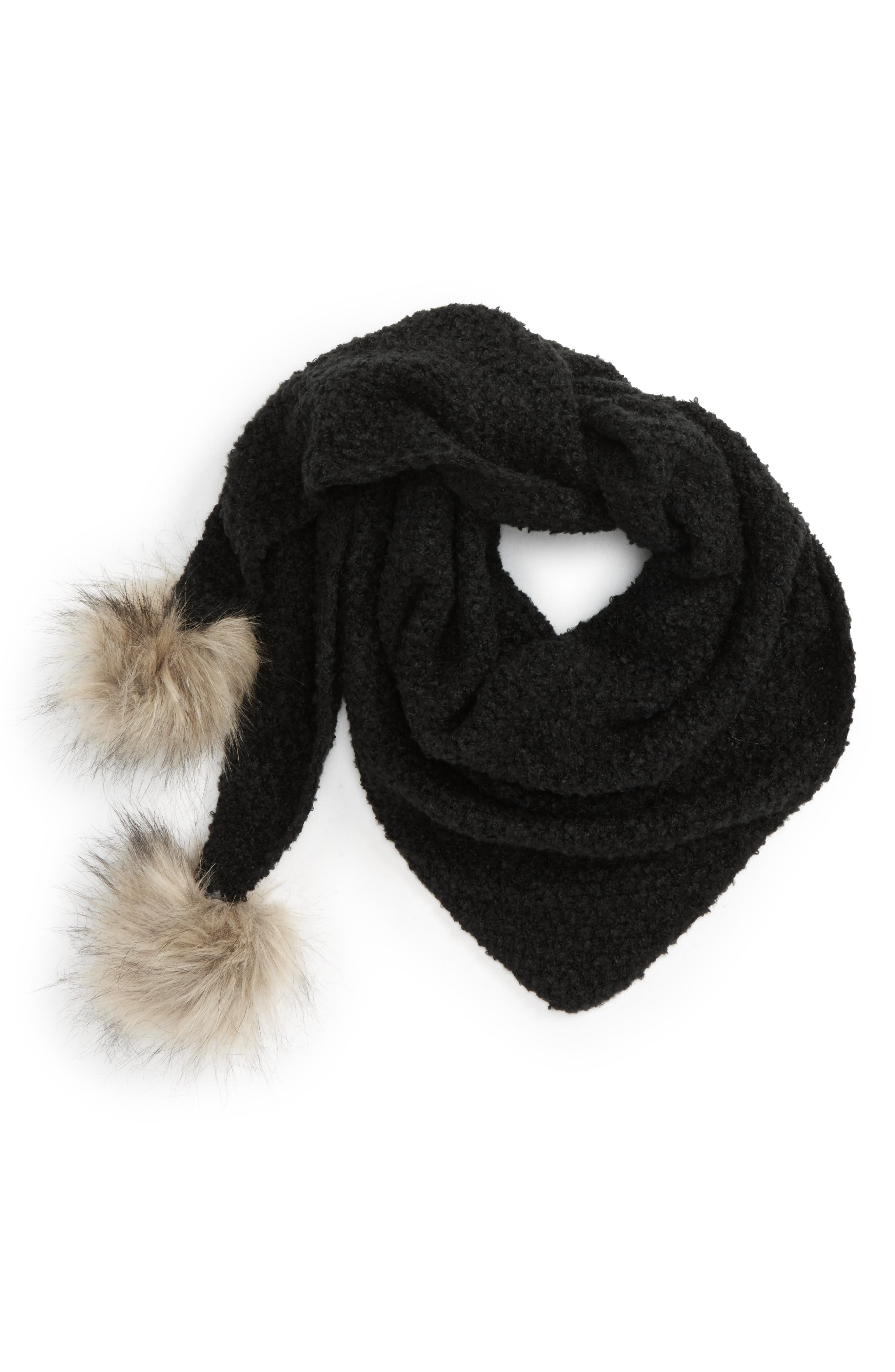 Capelli of New York Faux Fur Pom Triangle Scarf