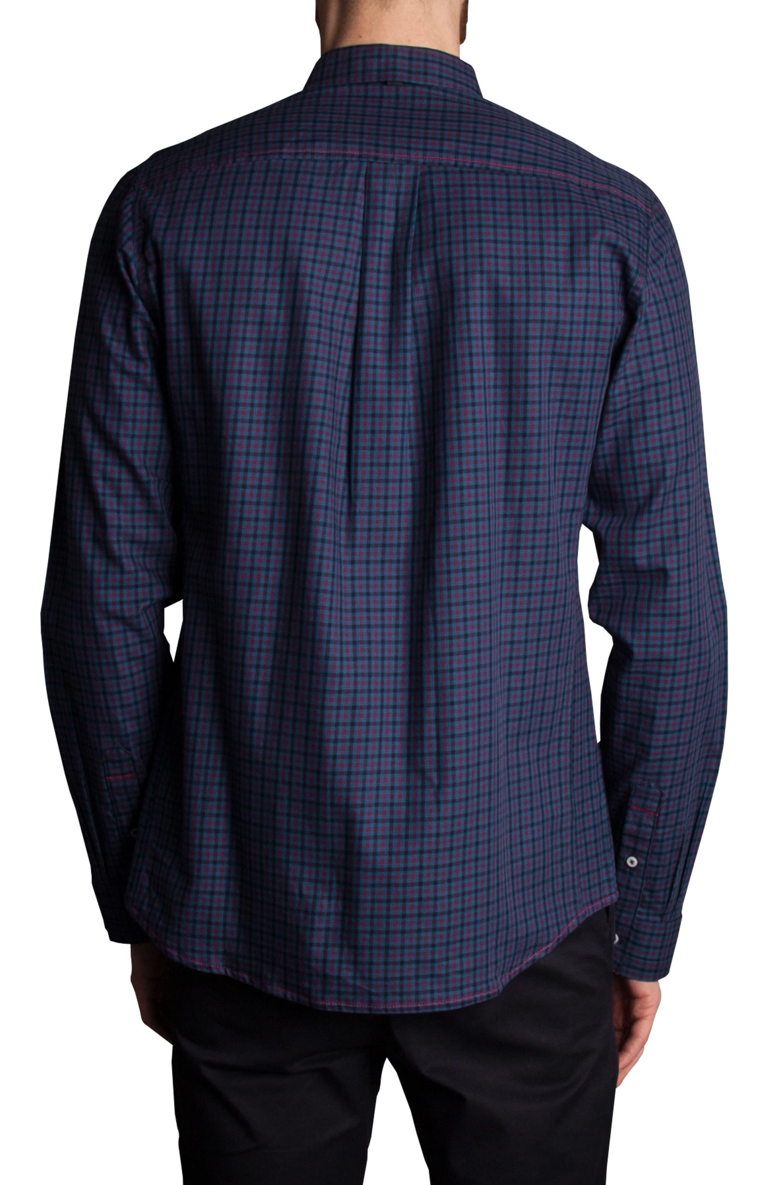 Inter Plaid Sport Shirt,                             Alternate thumbnail 2, color,                             Navy