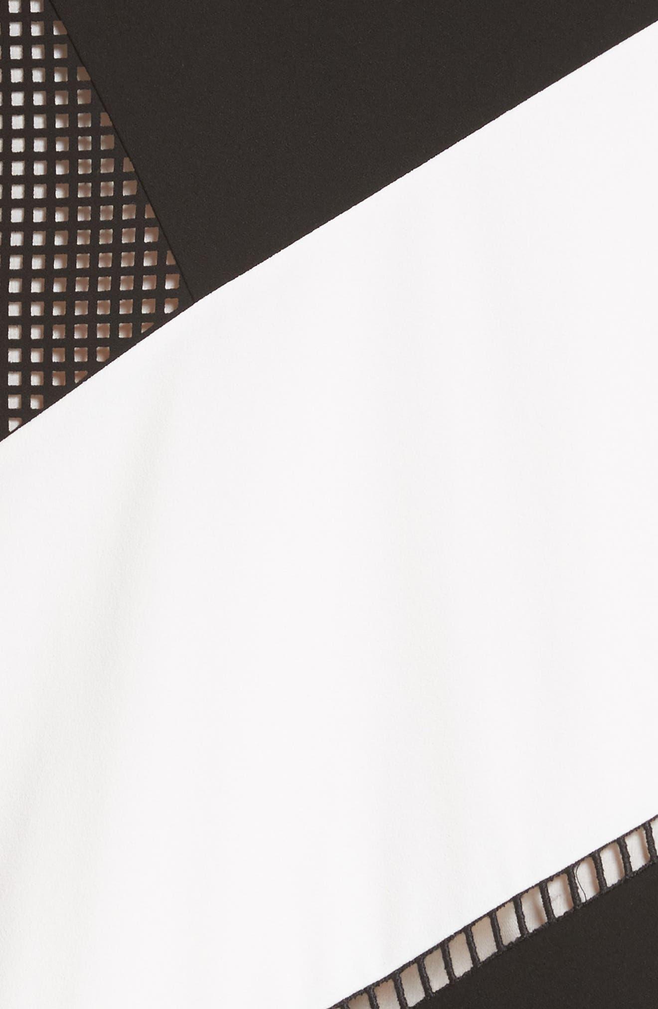 Nuri Laser Cut Midi Dress,                             Alternate thumbnail 6, color,                             Black/Cloud
