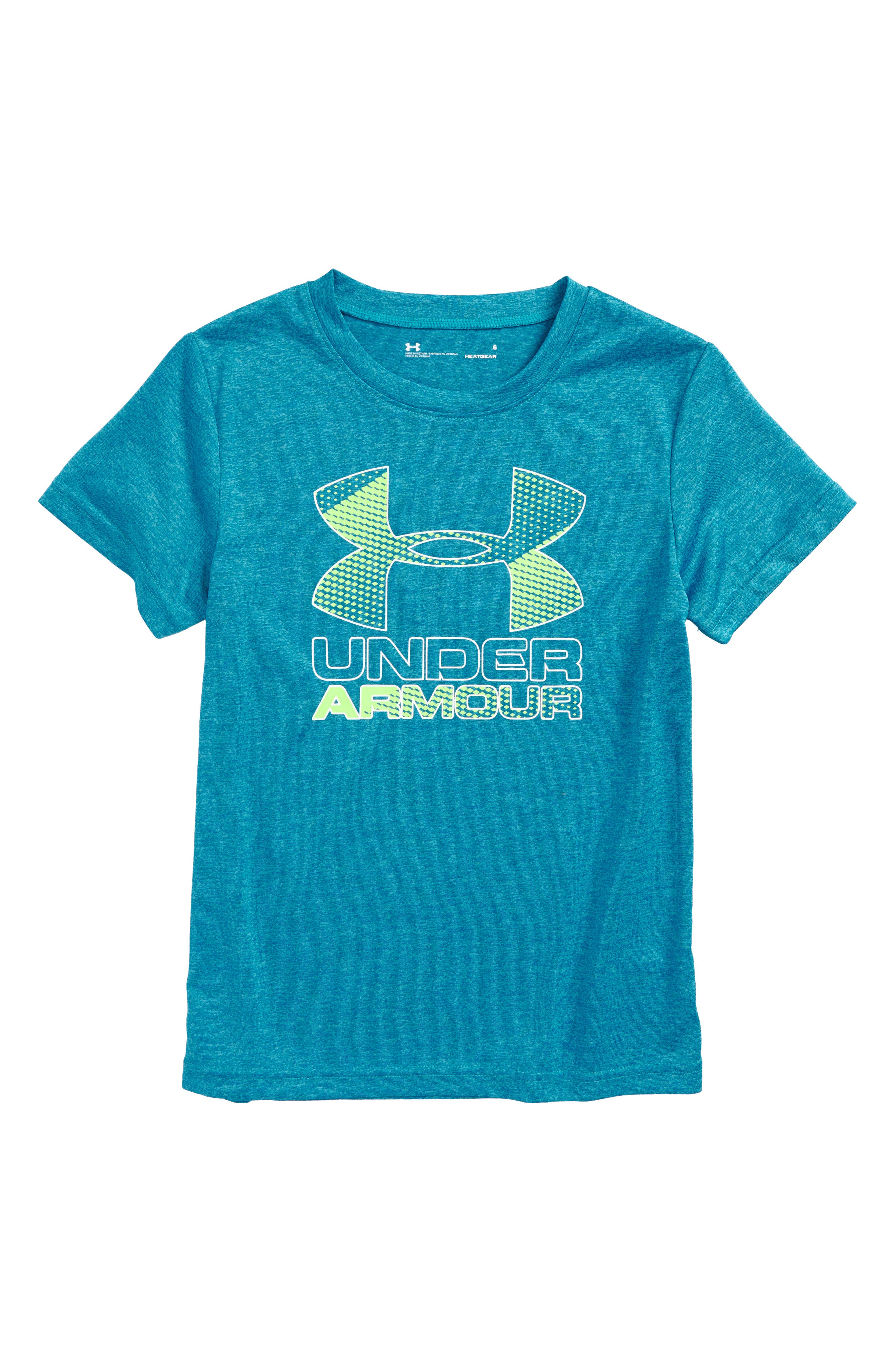 Main Image - Under Armour Big Logo Hybrid 2.0 HeatGear® T-Shirt (Toddler Boys & Little Boys)