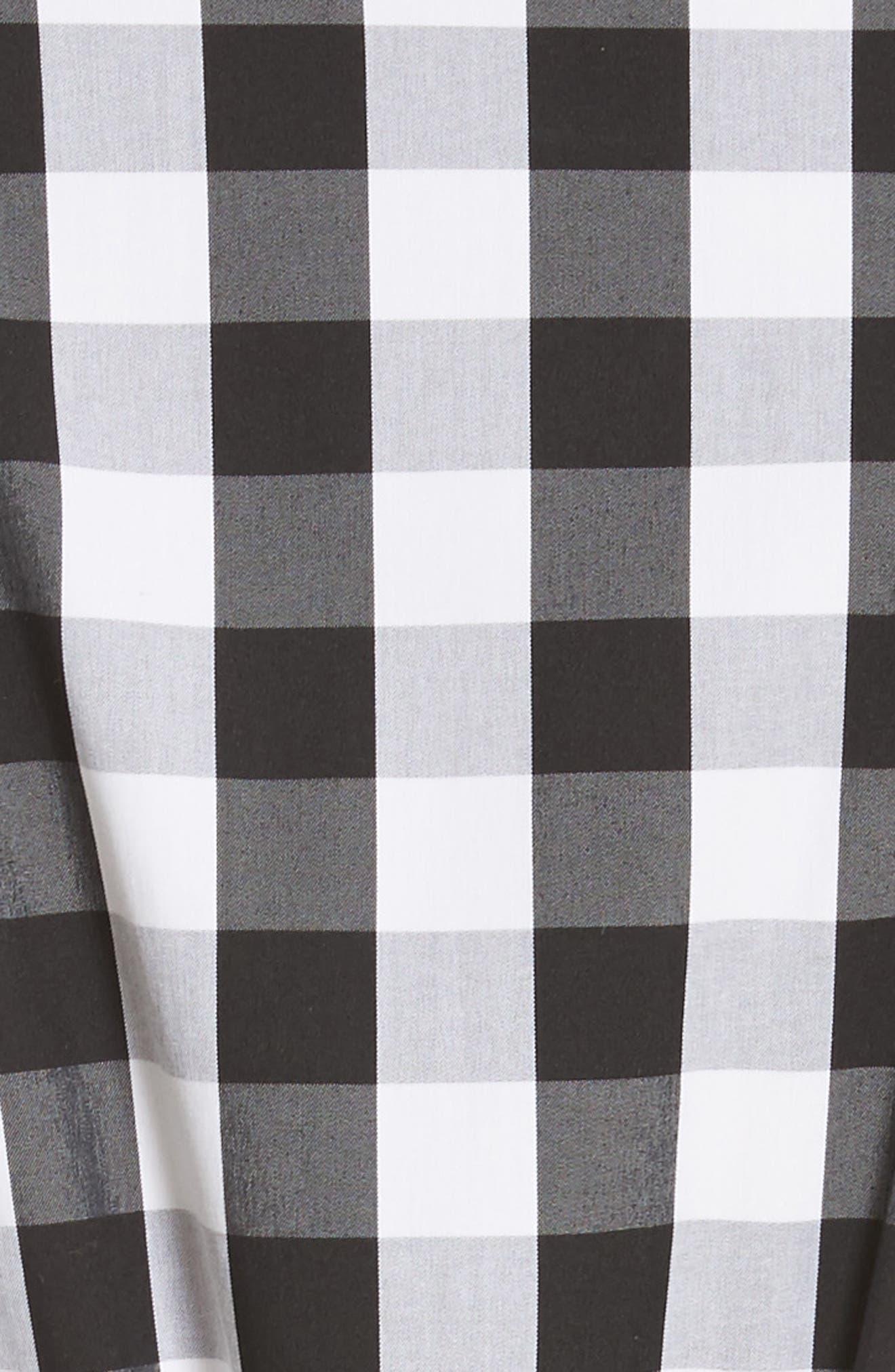 Eleni Gingham Shirtdress,                             Alternate thumbnail 6, color,                             Black Multi