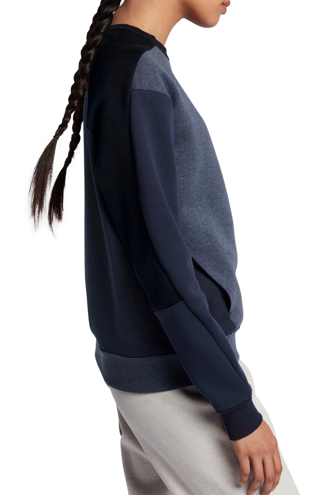 Sportswear Women's Tech Fleece Crew,                             Alternate thumbnail 4, color,                             Obsidian/ Black/ Black