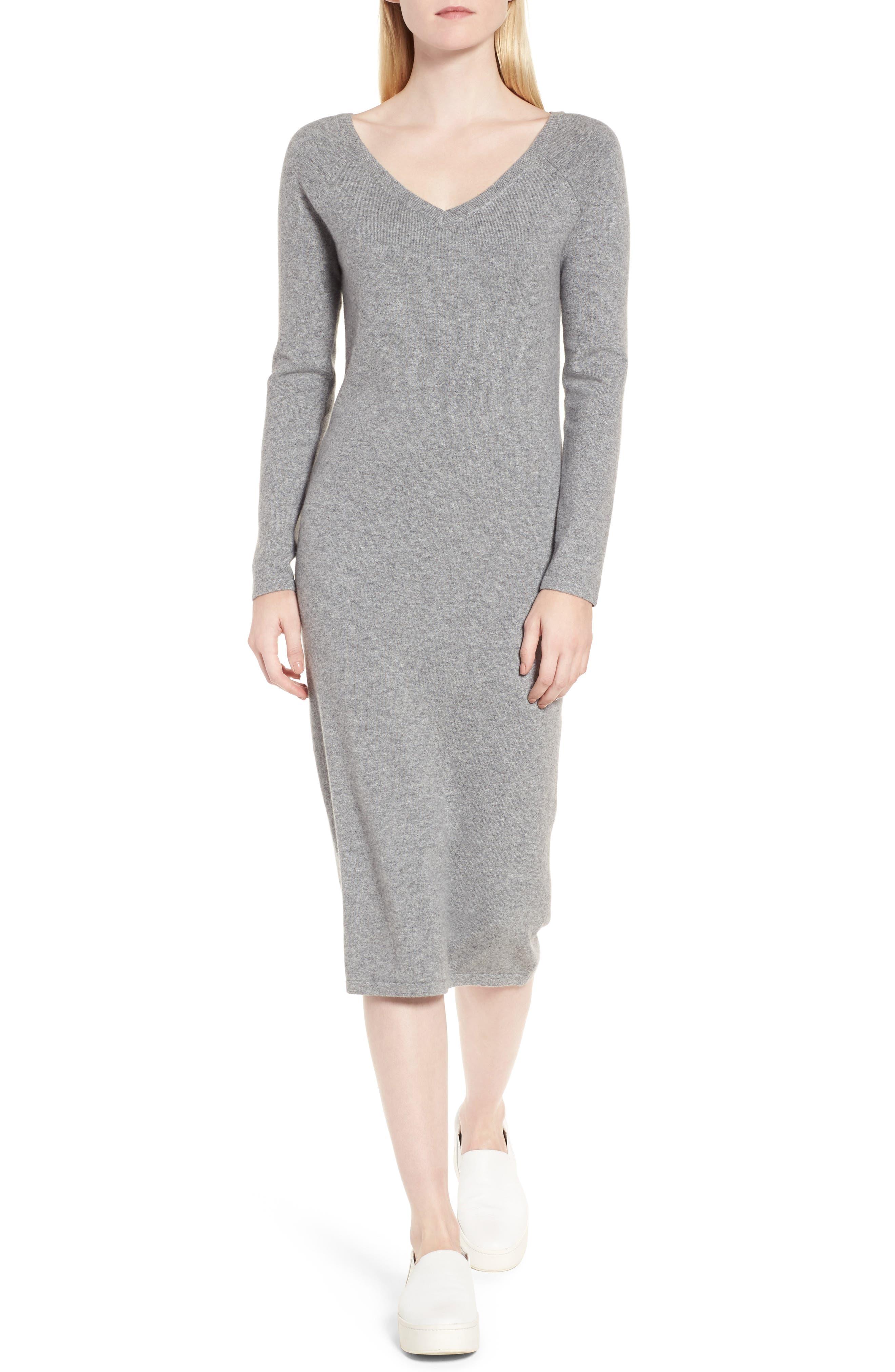 Cashmere Blend V-Neck Midi Dress,                         Main,                         color, Grey Filigree Heather