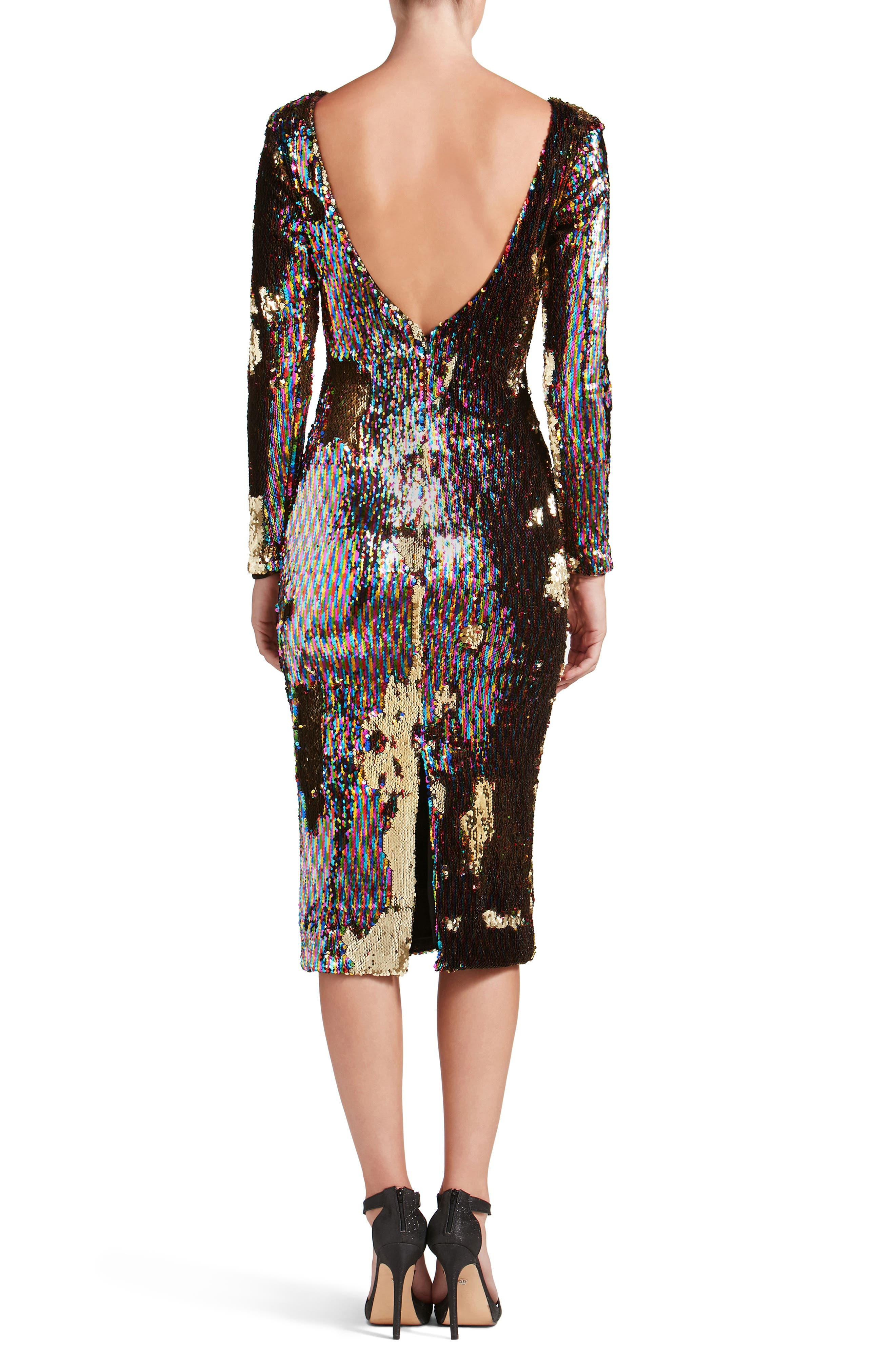Emery Scoop Back Reversible Sequin Body-Con Dress,                             Alternate thumbnail 2, color,                             Multi/ Gold