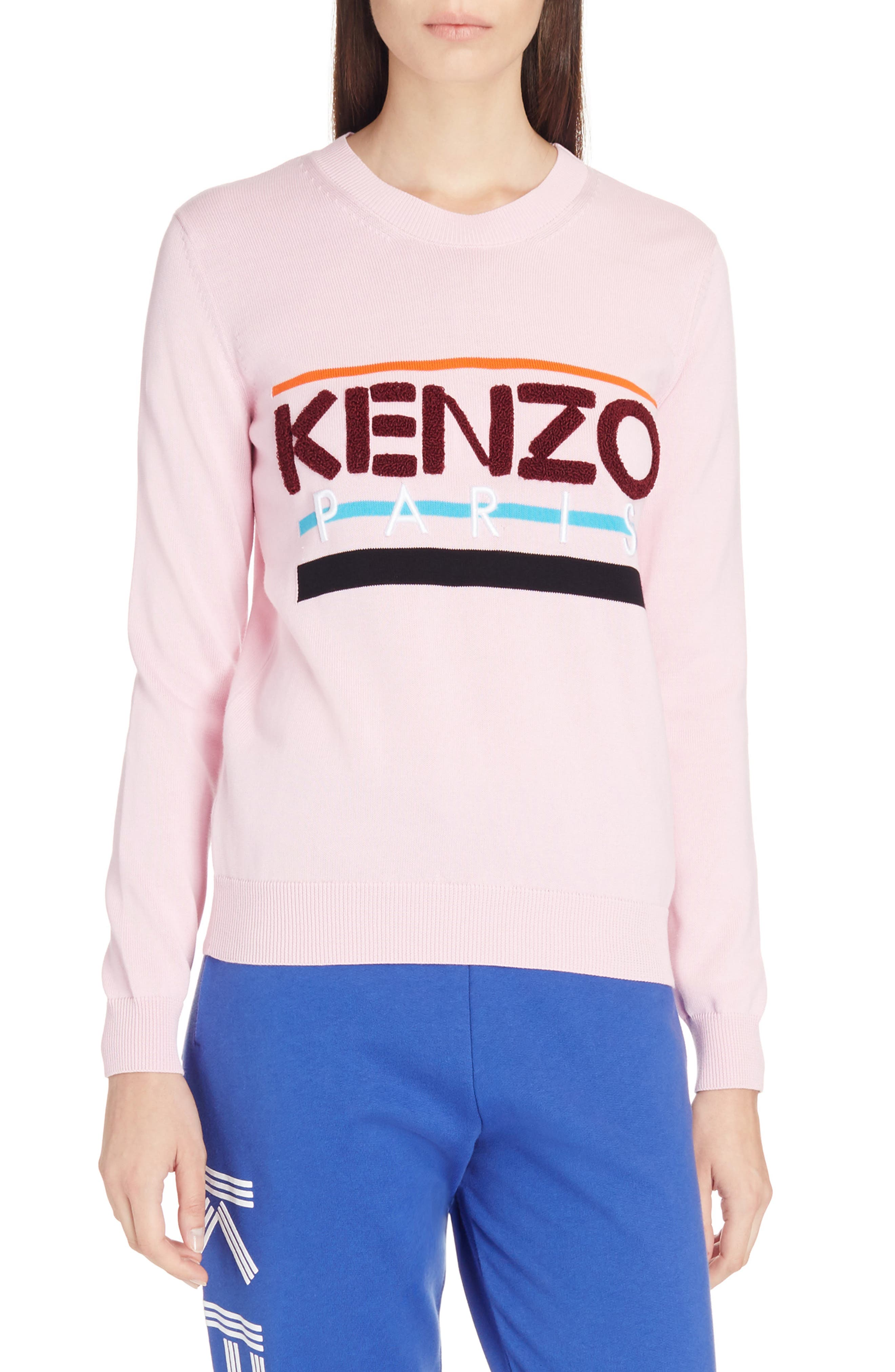 Paris Logo Sweatshirt,                             Main thumbnail 1, color,                             Flamingo Pink
