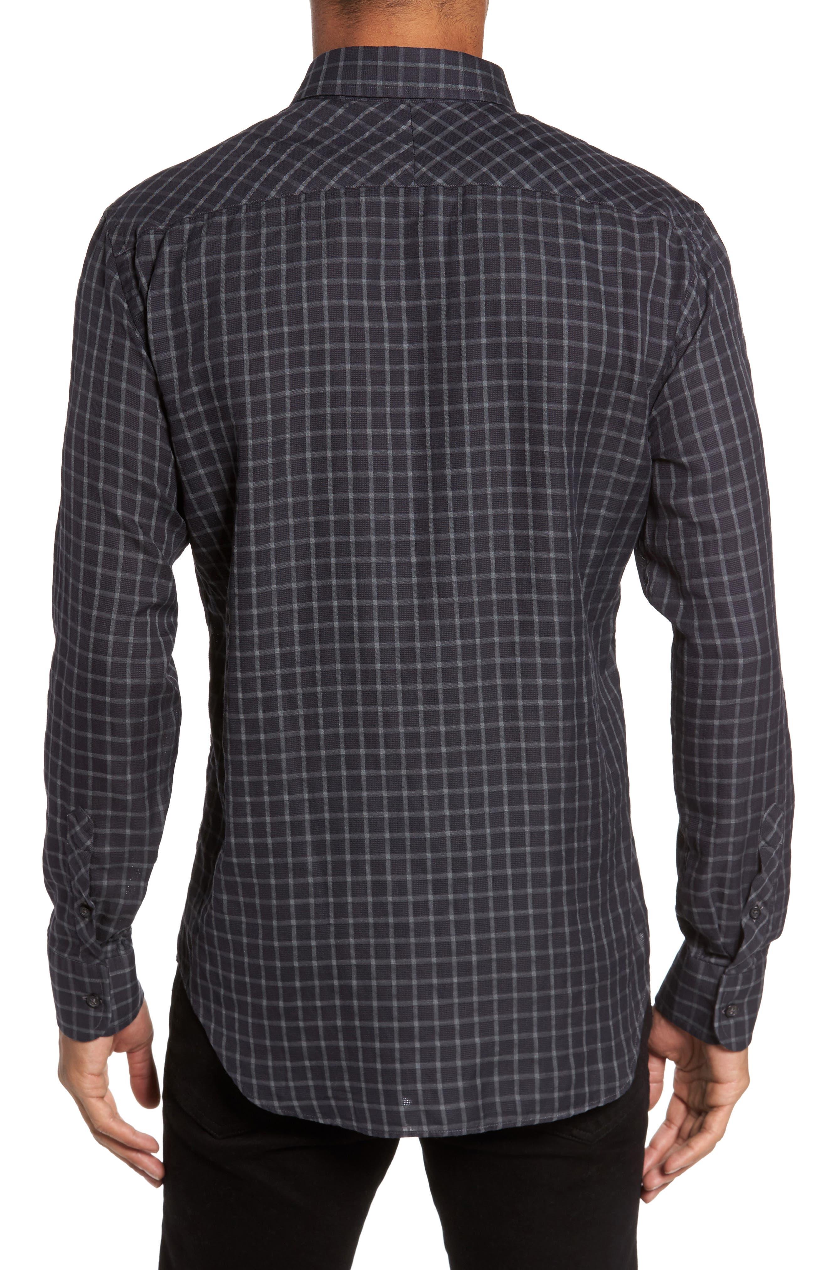Rosedale Slim Fit Check Sport Shirt,                             Alternate thumbnail 2, color,                             Navy/ Grey