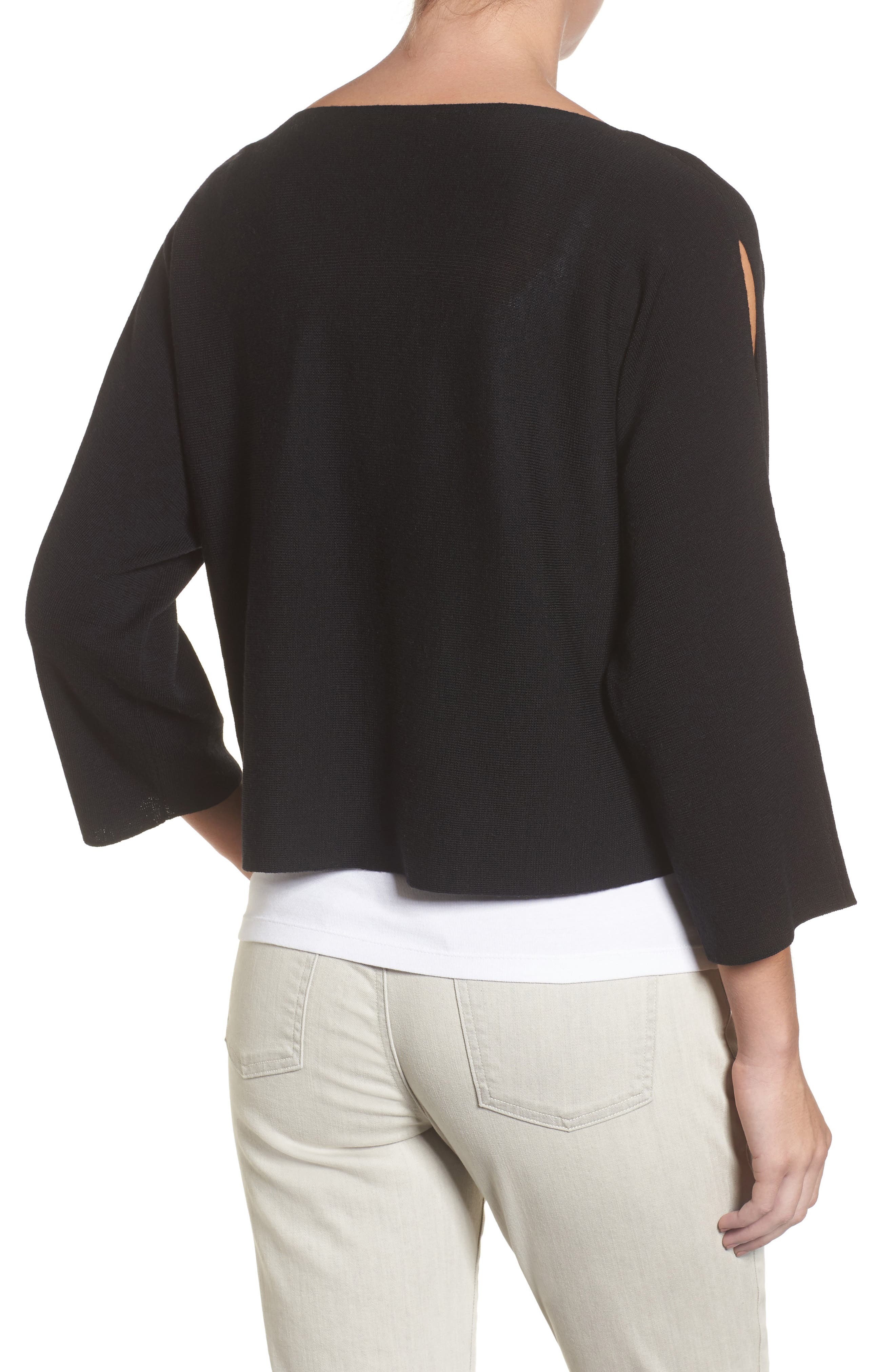 Crop Merino Wool Sweater,                             Alternate thumbnail 2, color,                             Black