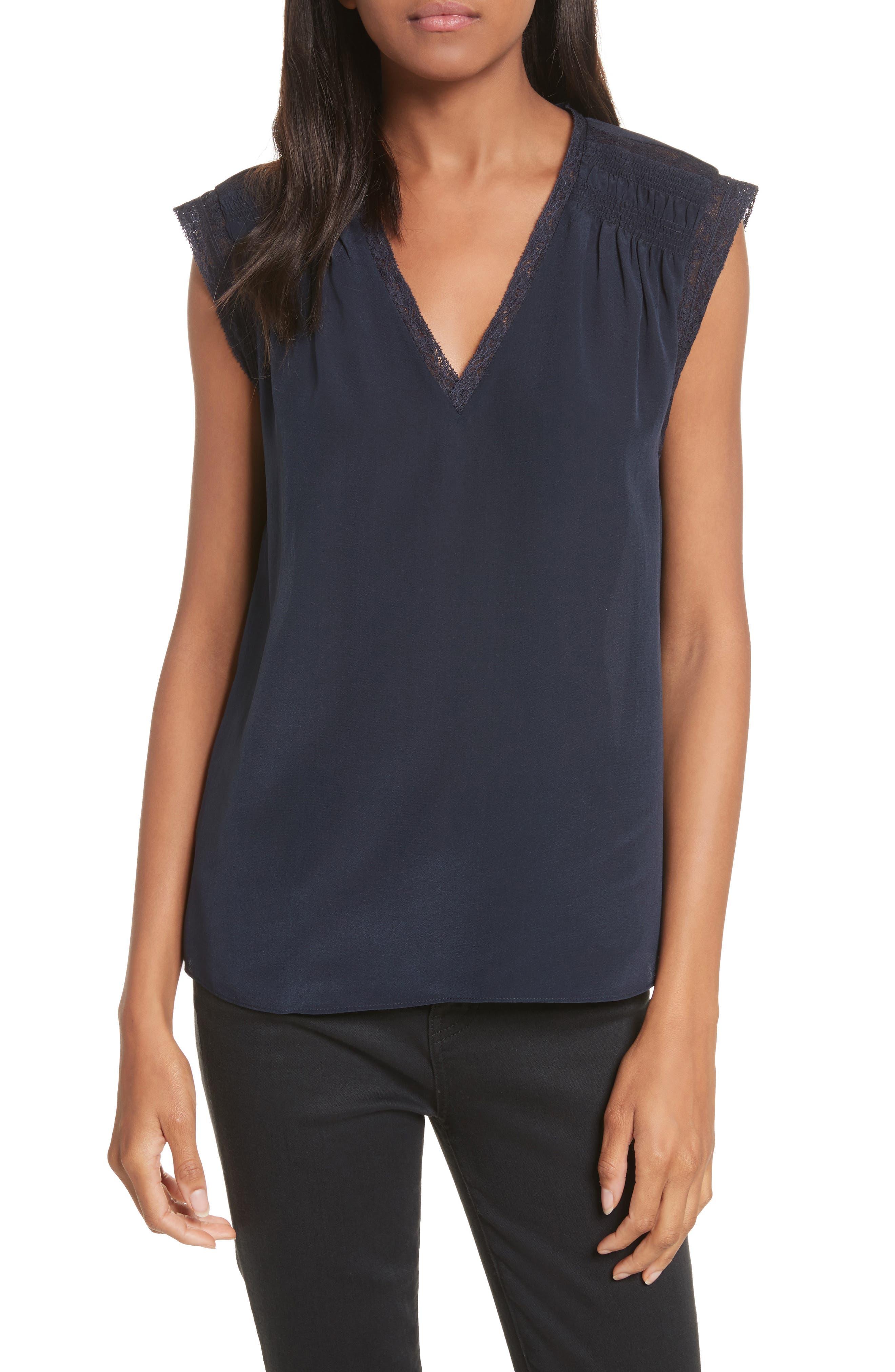 Lace Trim Silk Top,                         Main,                         color, Navy