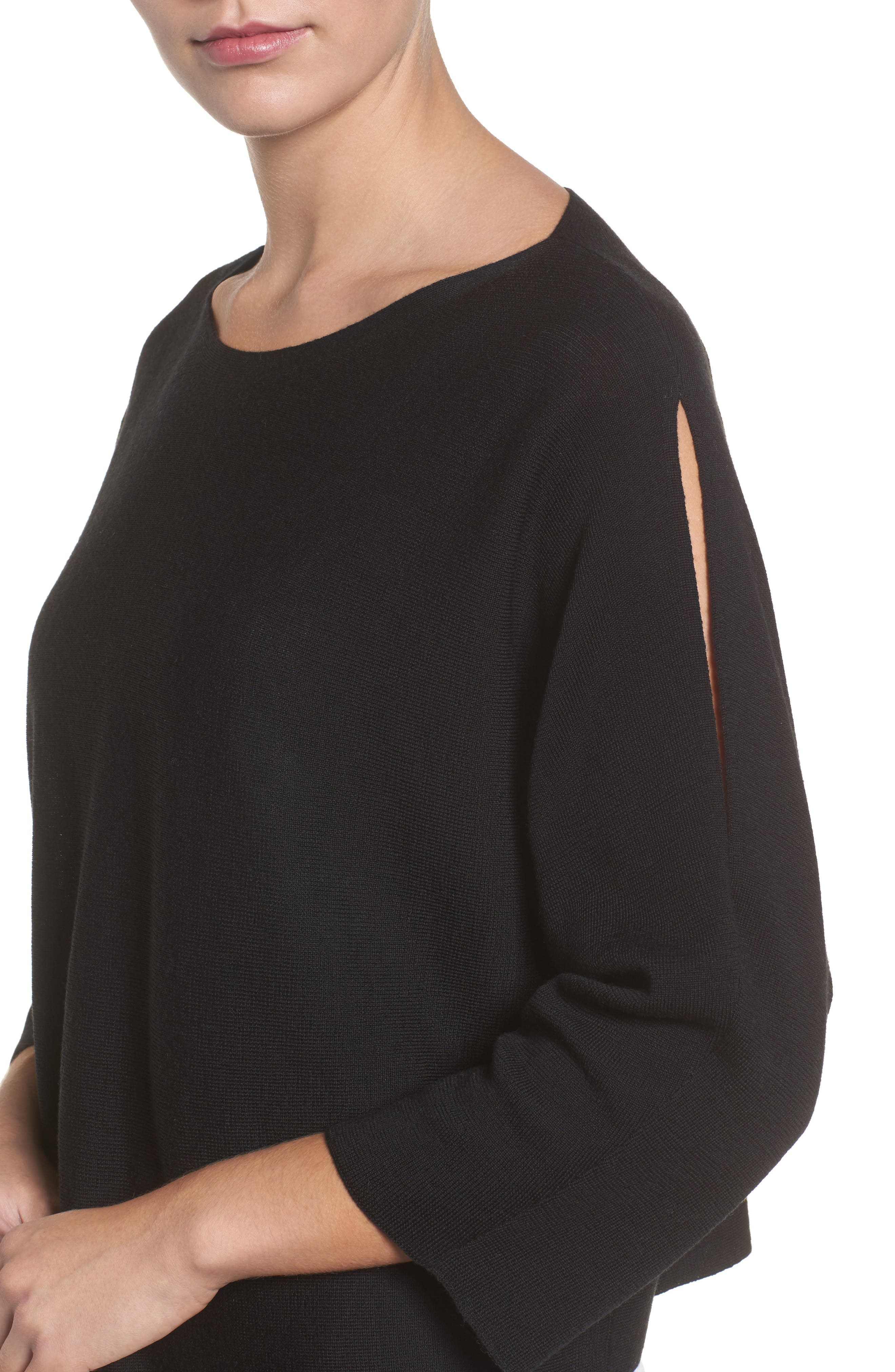 Crop Merino Wool Sweater,                             Alternate thumbnail 4, color,                             Black