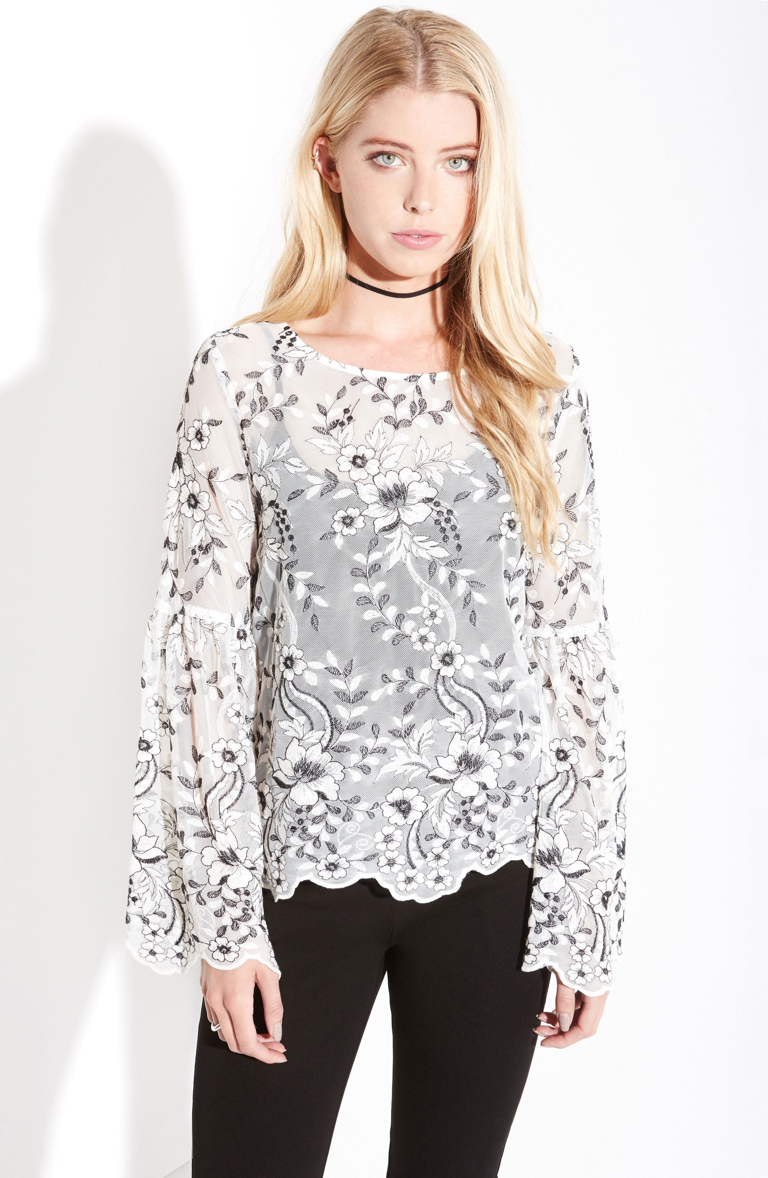 Embroidered Bell Sleeve Blouse,                             Alternate thumbnail 2, color,                             Cream W/ Black