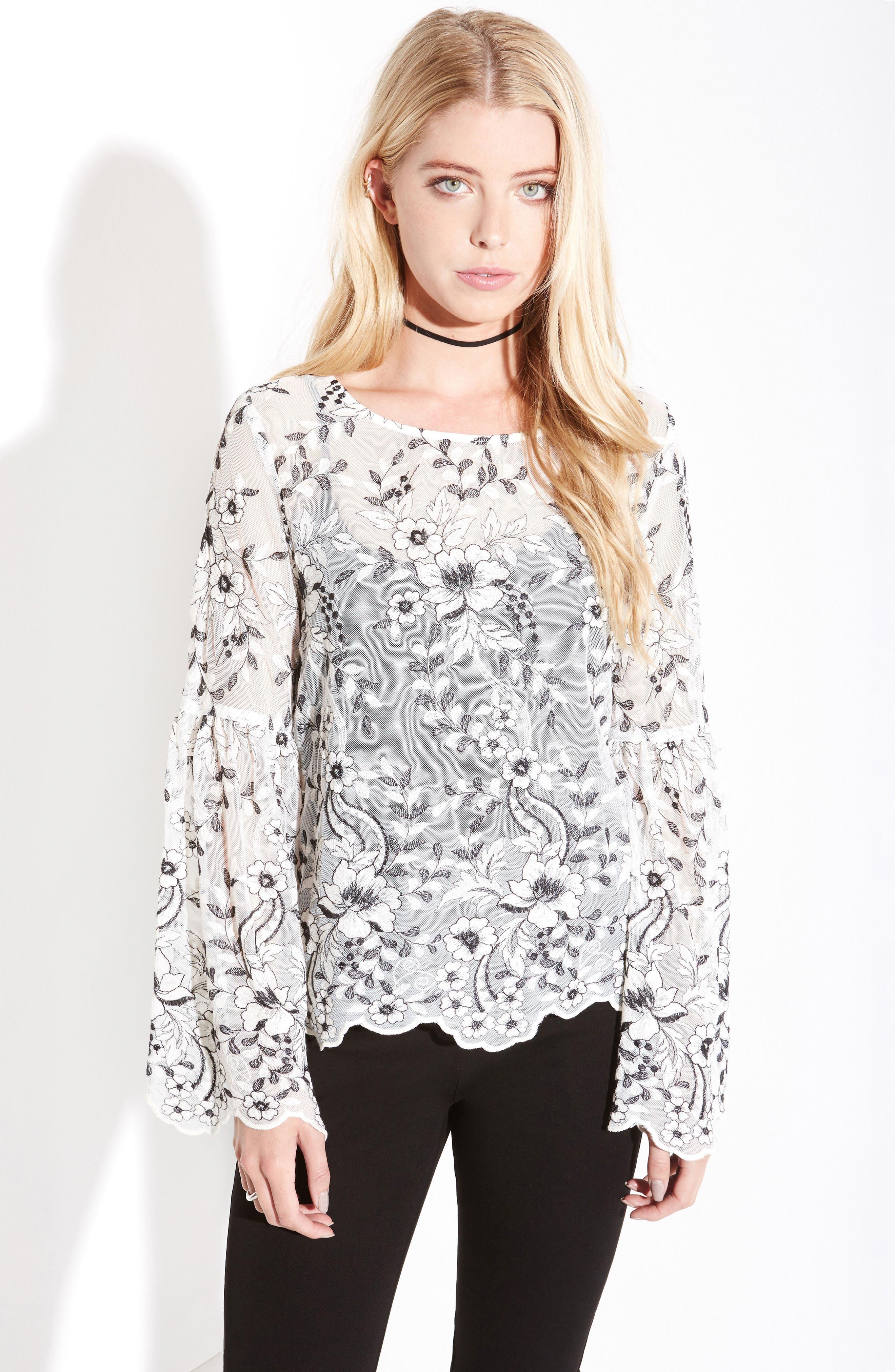 Alternate Image 2  - Karen Kane Embroidered Bell Sleeve Blouse