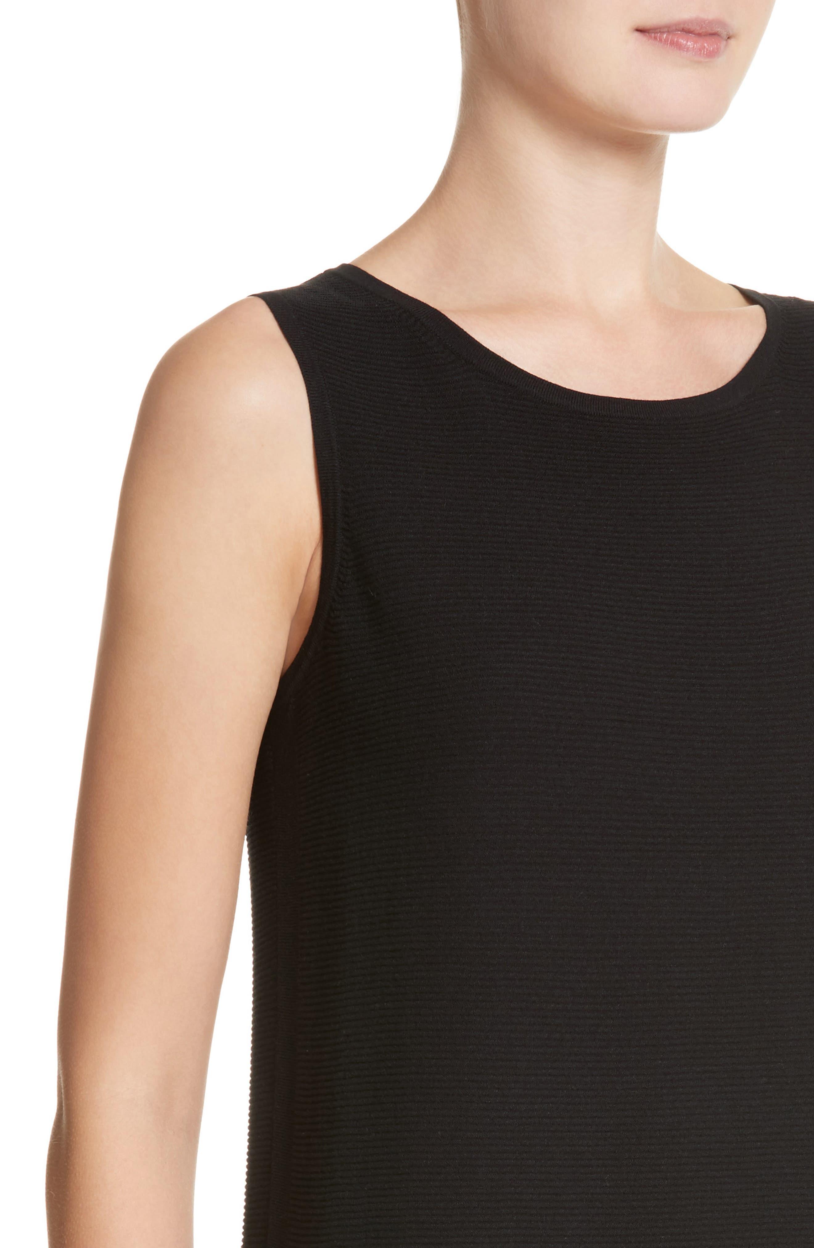 Link Stitch Sweater Dress,                             Alternate thumbnail 4, color,                             Black