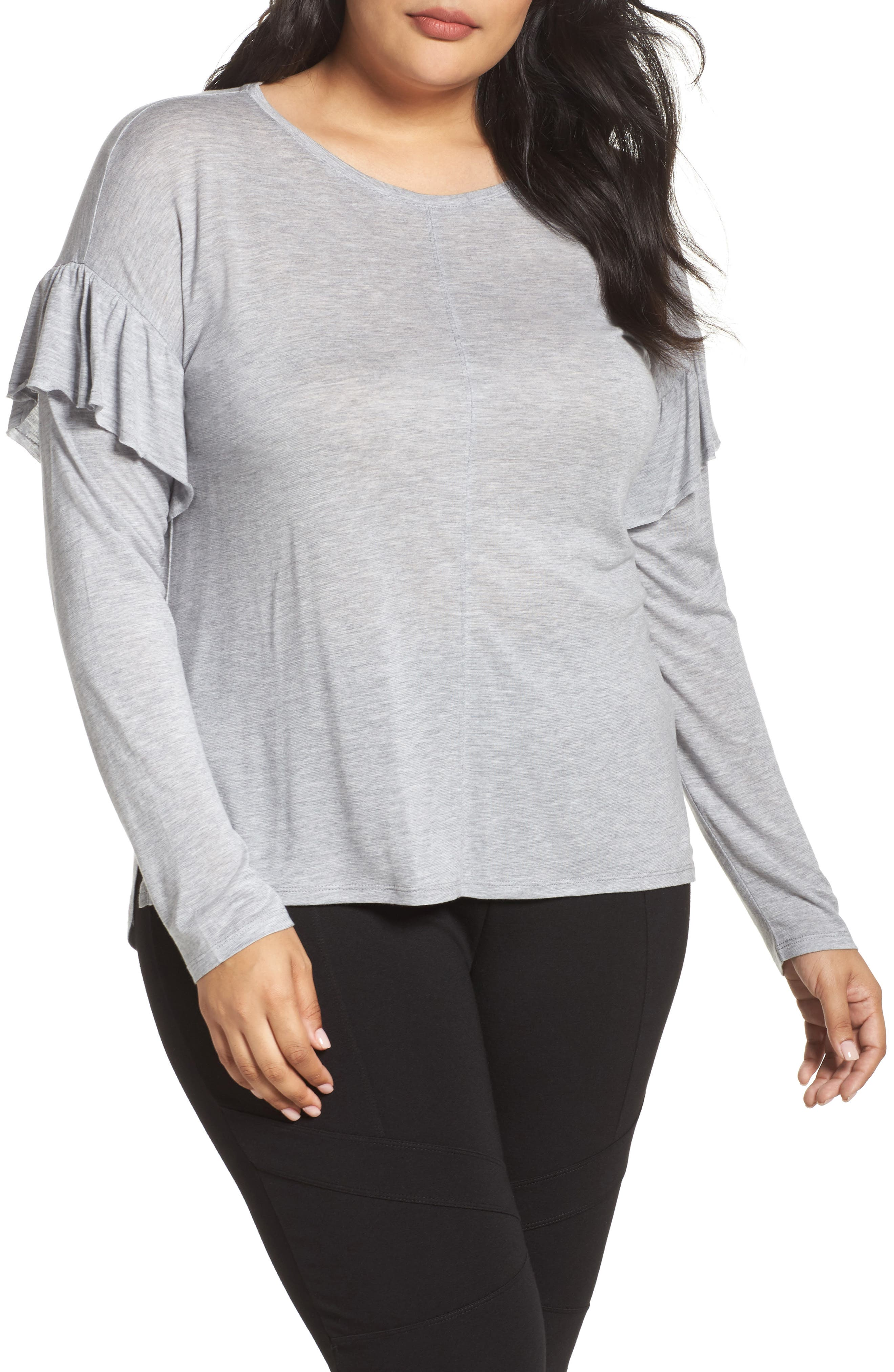 Two by Vince Camuto Long Sleeve Ruffle Shoulder Top (Plus Size)