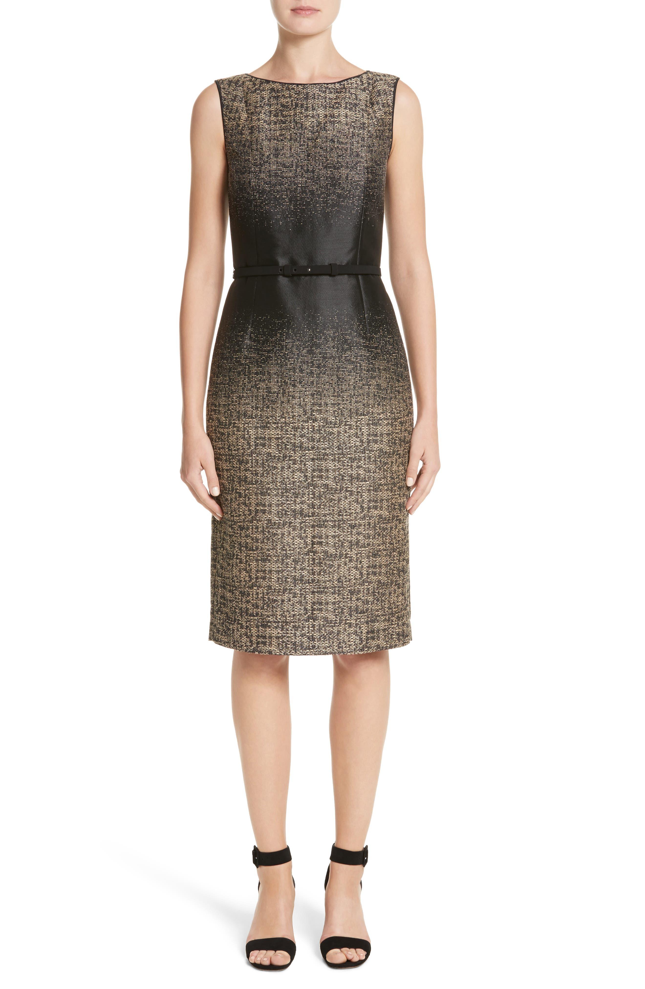 Paulette Jacquard Sheath Dress,                             Main thumbnail 1, color,                             Black Multi