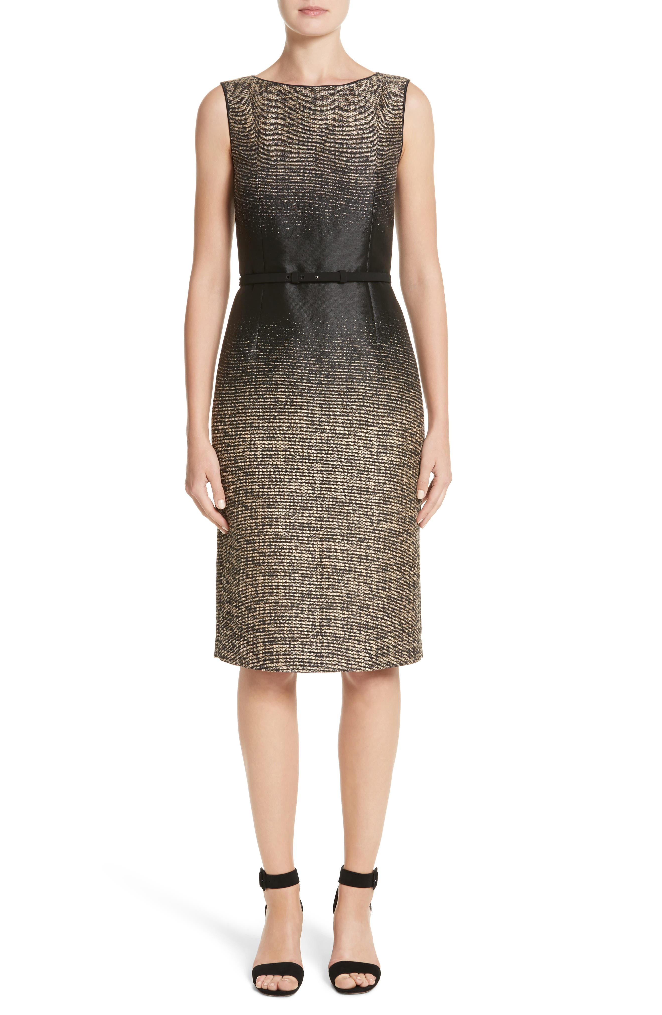 Paulette Jacquard Sheath Dress,                         Main,                         color, Black Multi