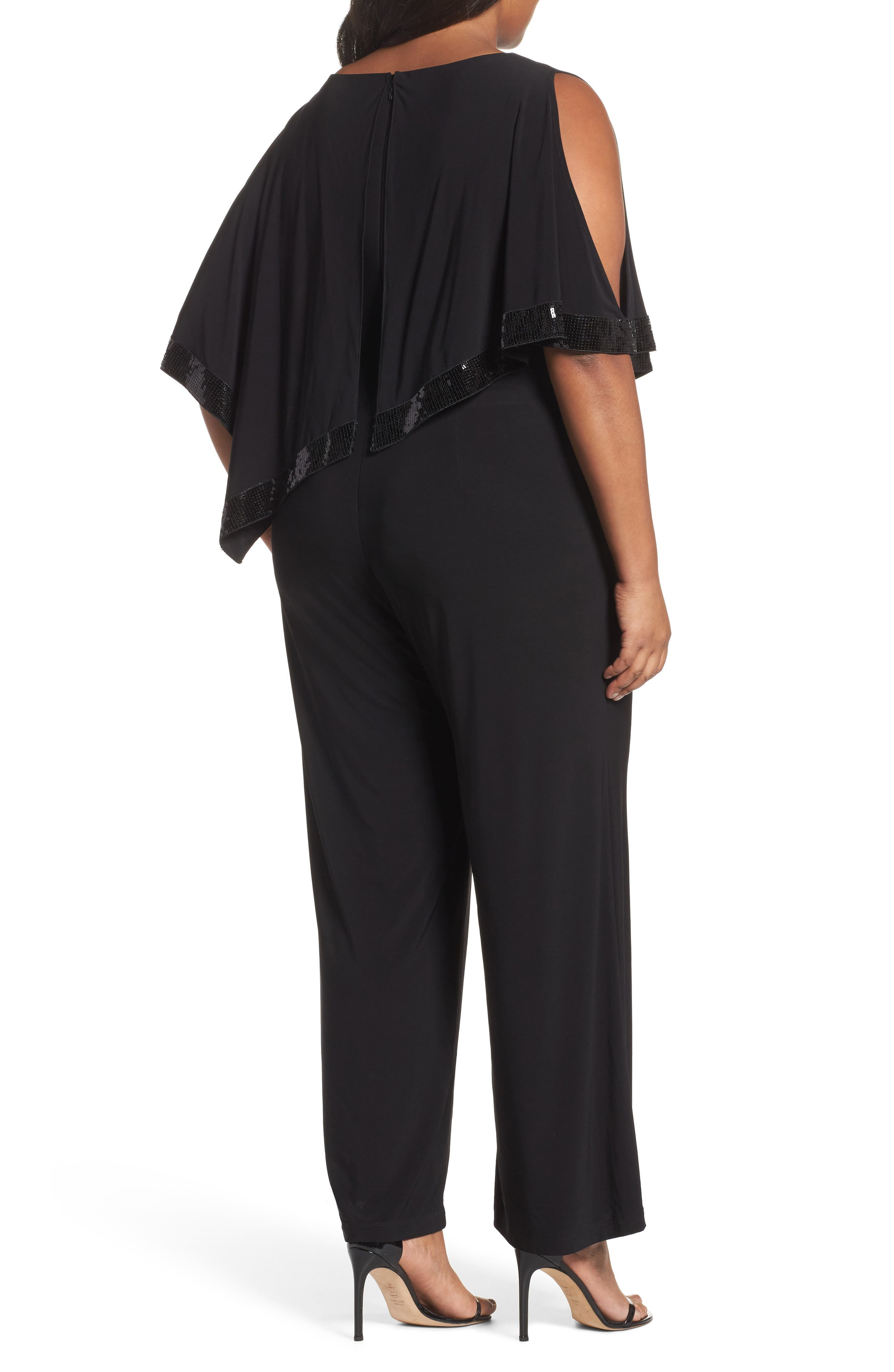 Alternate Image 2  - Adrianna Papell Matte Jersey Capelet Jumpsuit (Plus Size)