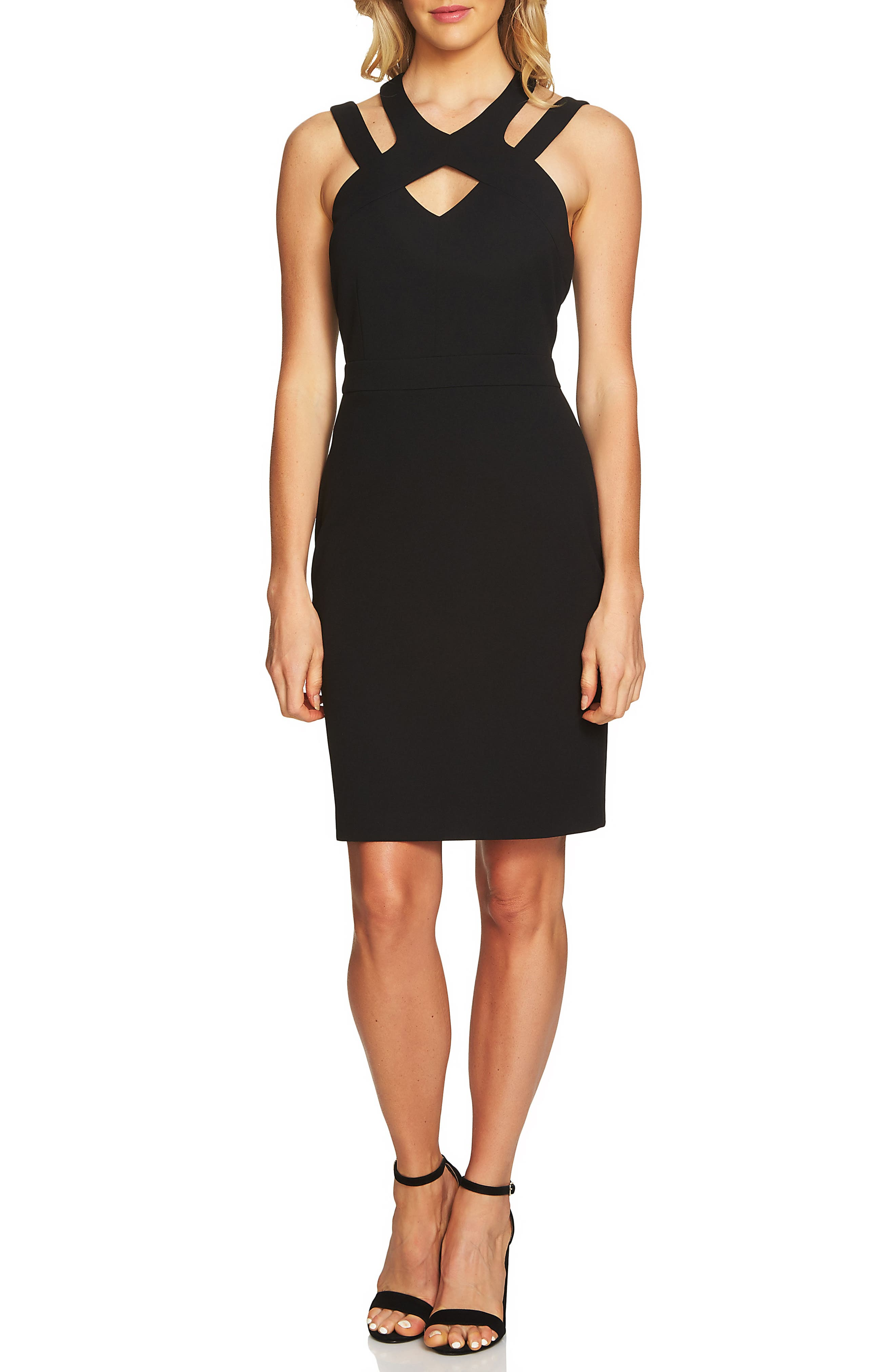Cutout Cross Neck Sheath Dress,                         Main,                         color, Rich Black