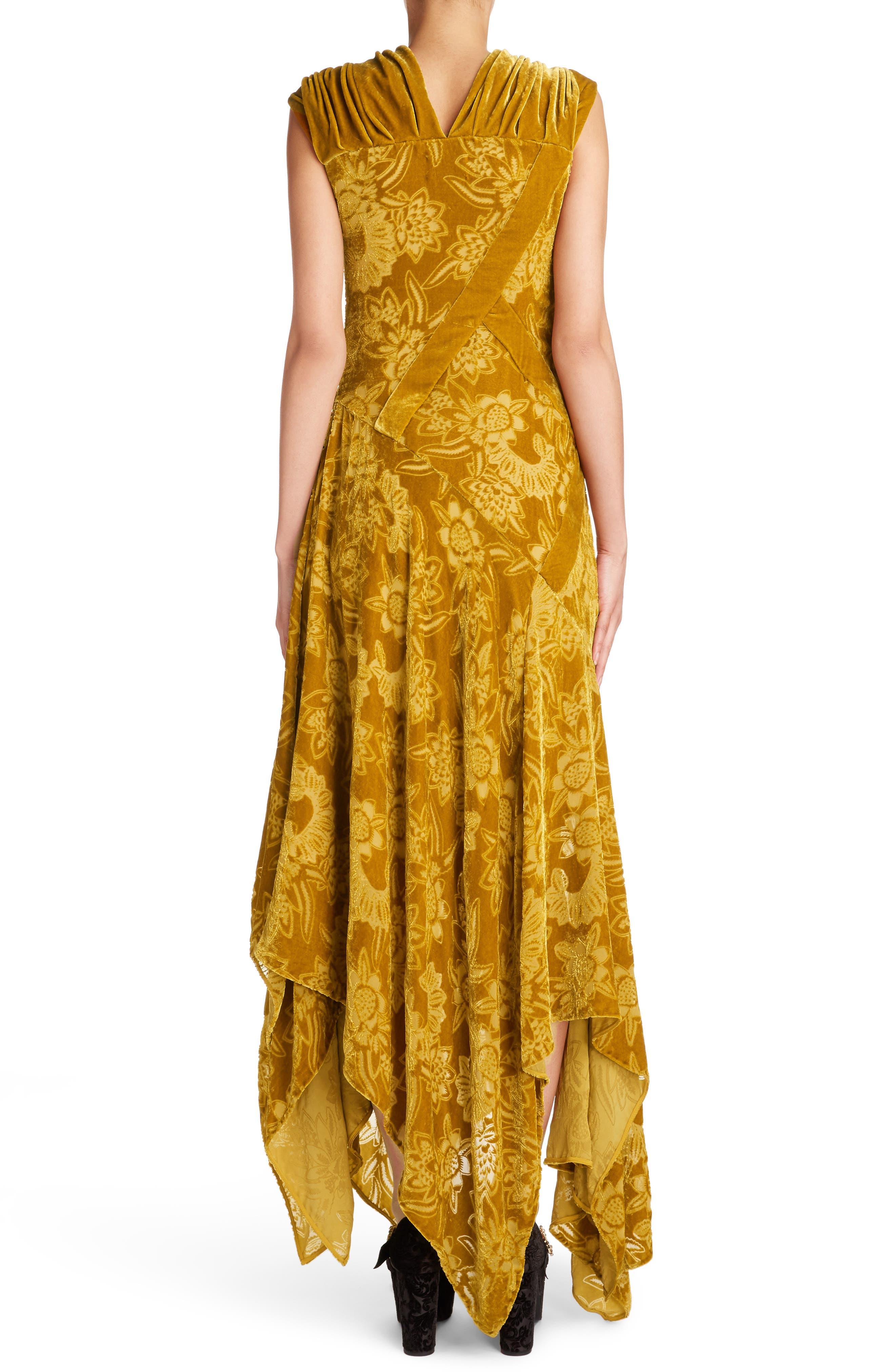 Velvet Devoré Handkerchief Hem Gown,                             Alternate thumbnail 2, color,                             Gold