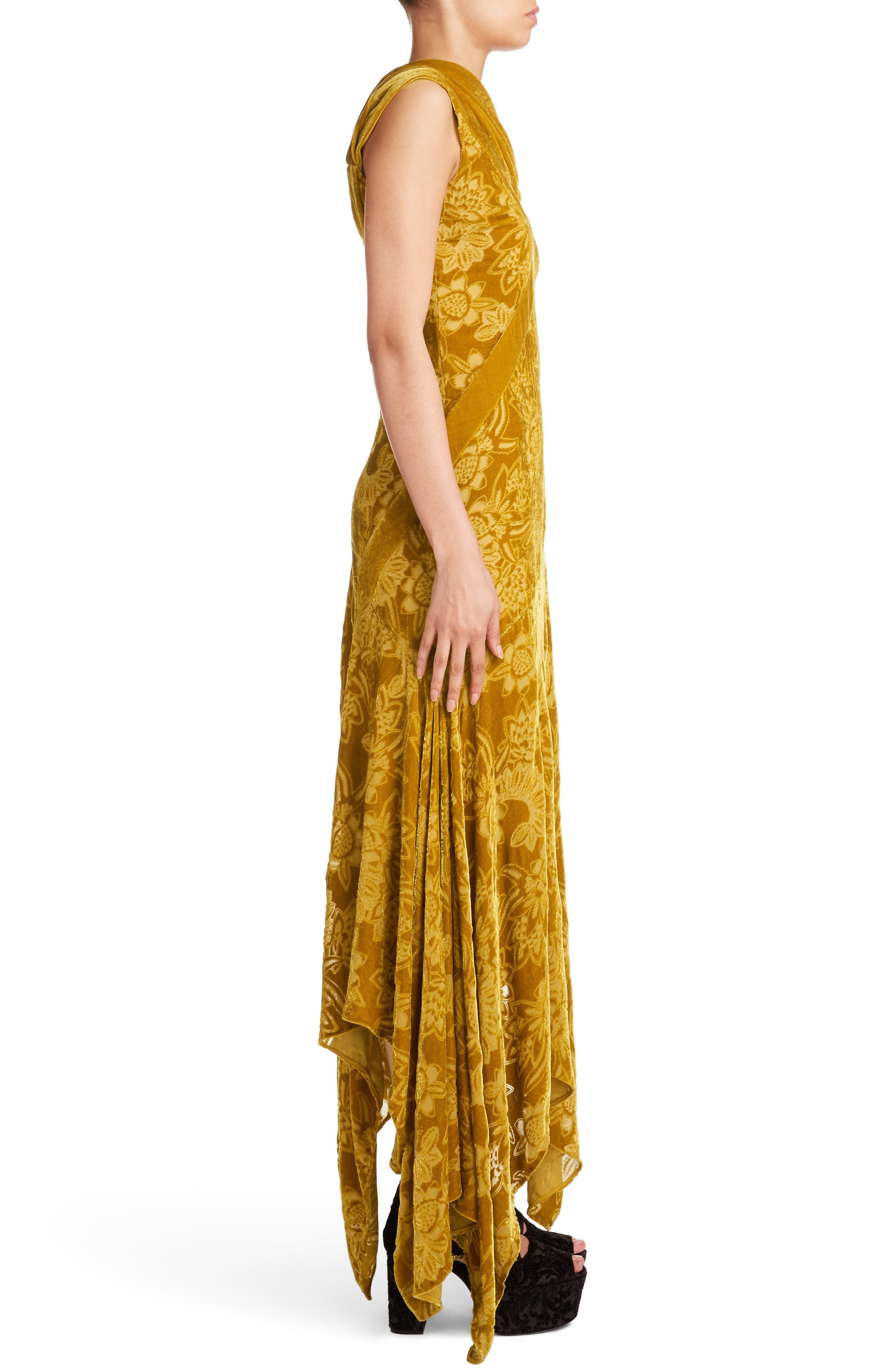 Velvet Devoré Handkerchief Hem Gown,                             Alternate thumbnail 3, color,                             Gold