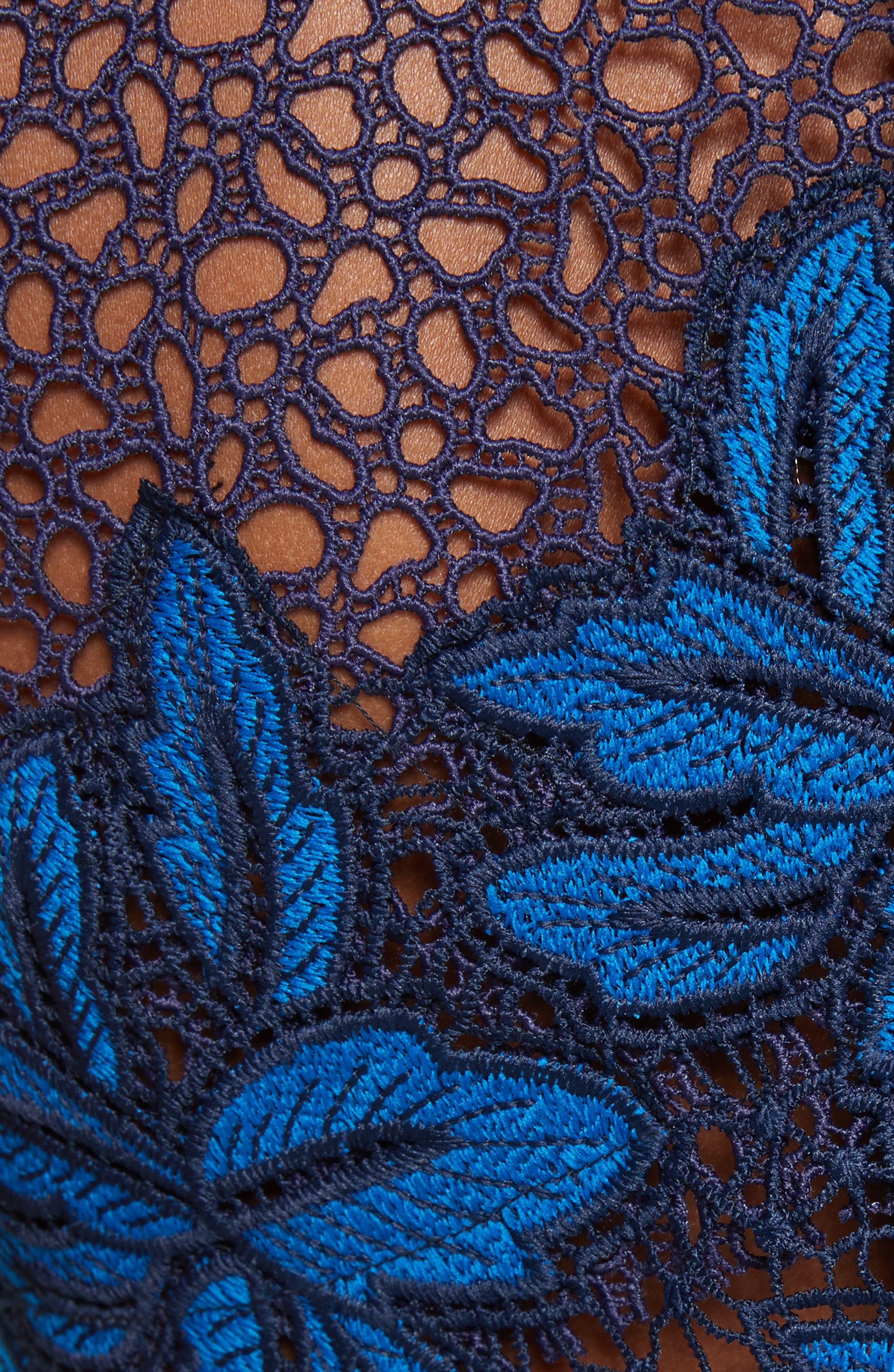 Mosaic Lace Peplum Top,                             Alternate thumbnail 4, color,                             Blue Multi