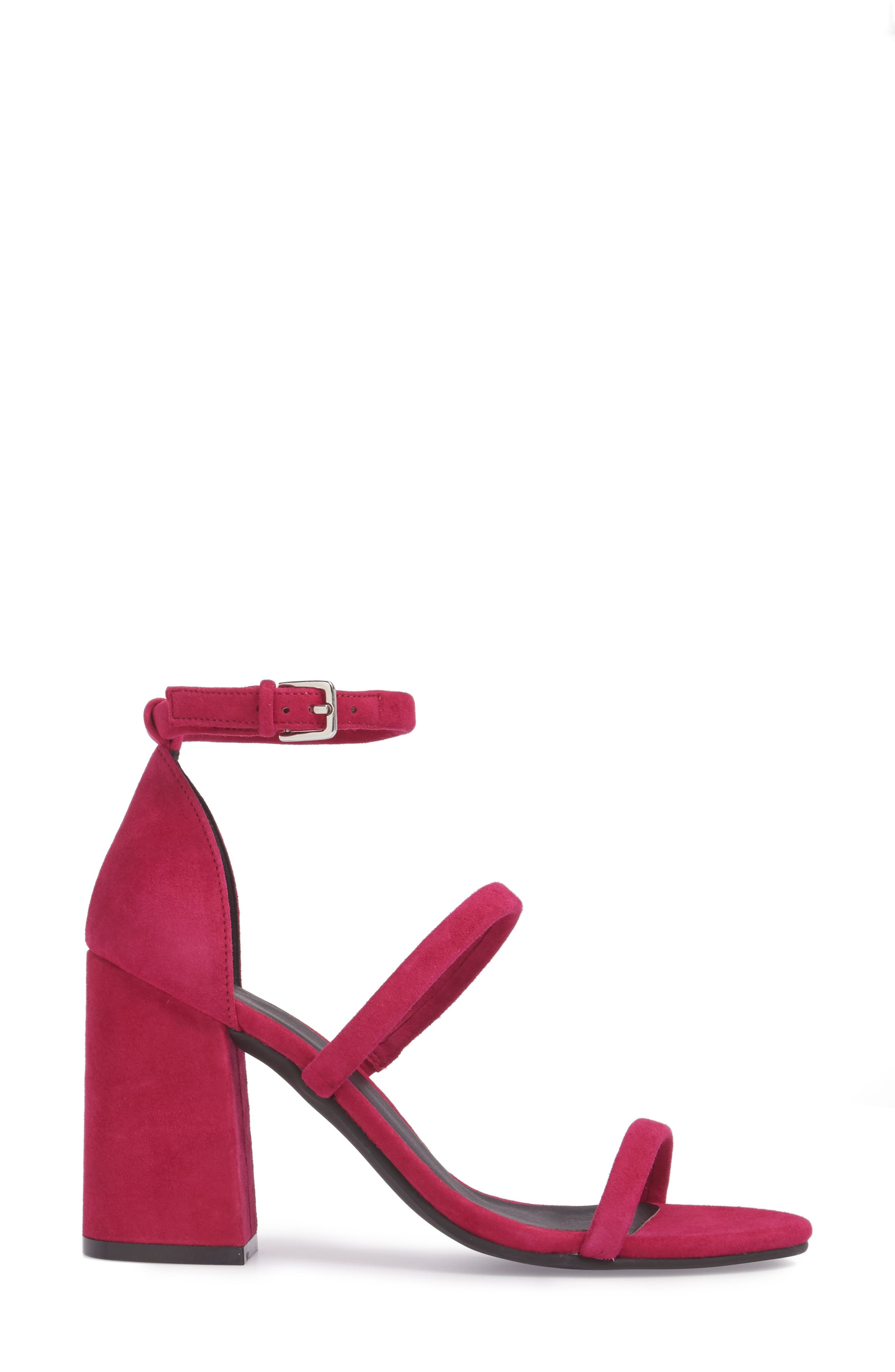 Carly Strappy Sandal,                             Alternate thumbnail 3, color,                             Fuschia Suede
