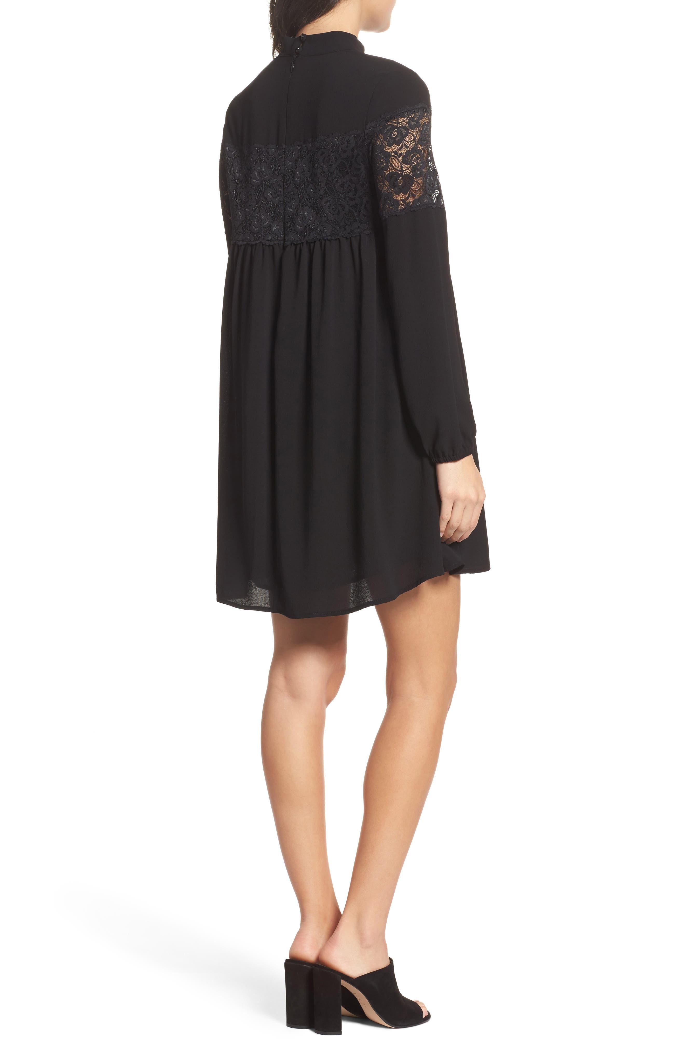 Mock Neck Shift Dress,                             Alternate thumbnail 2, color,                             Black