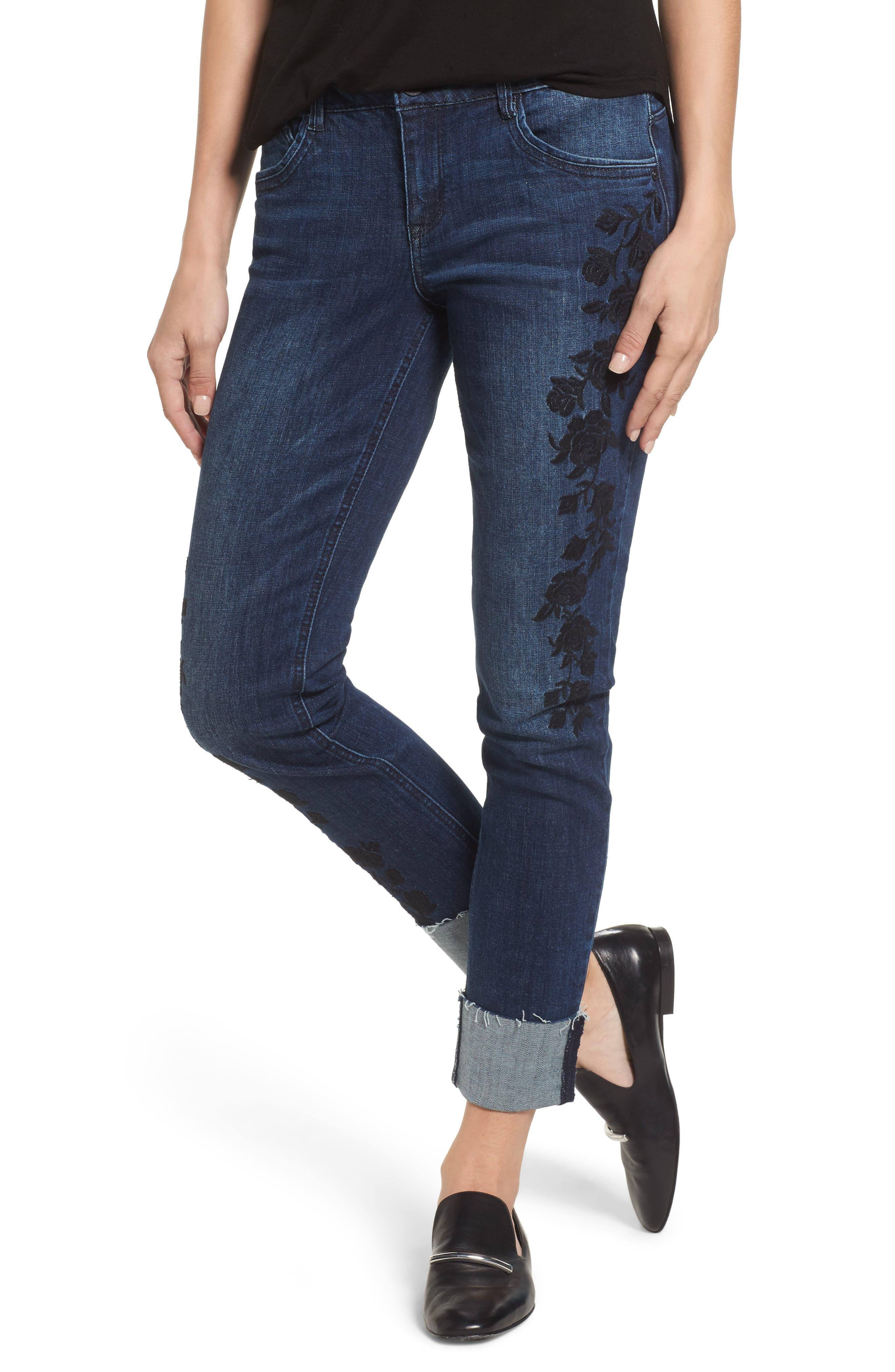 Flexellent Embroidered Boyfriend Jeans,                             Main thumbnail 1, color,                             Blue