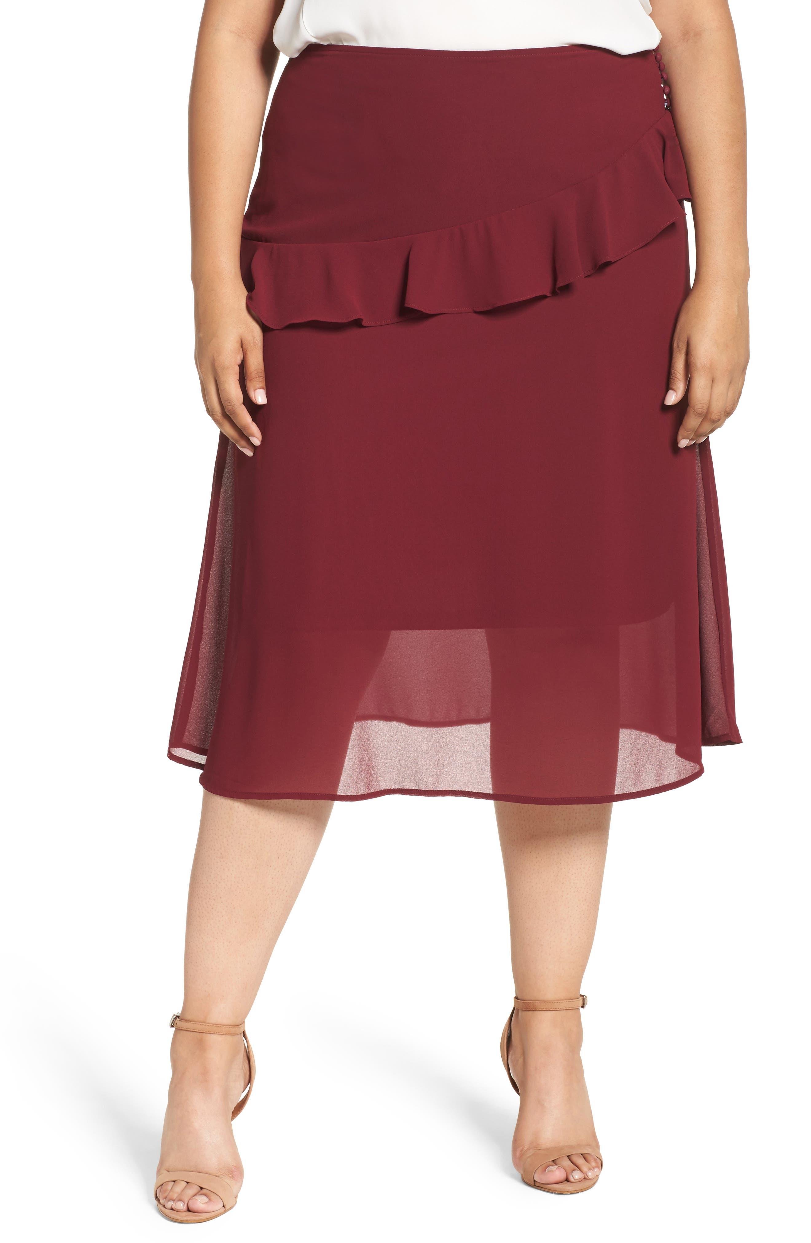 Ruffled Georgette Skirt,                             Main thumbnail 1, color,                             Burgundy