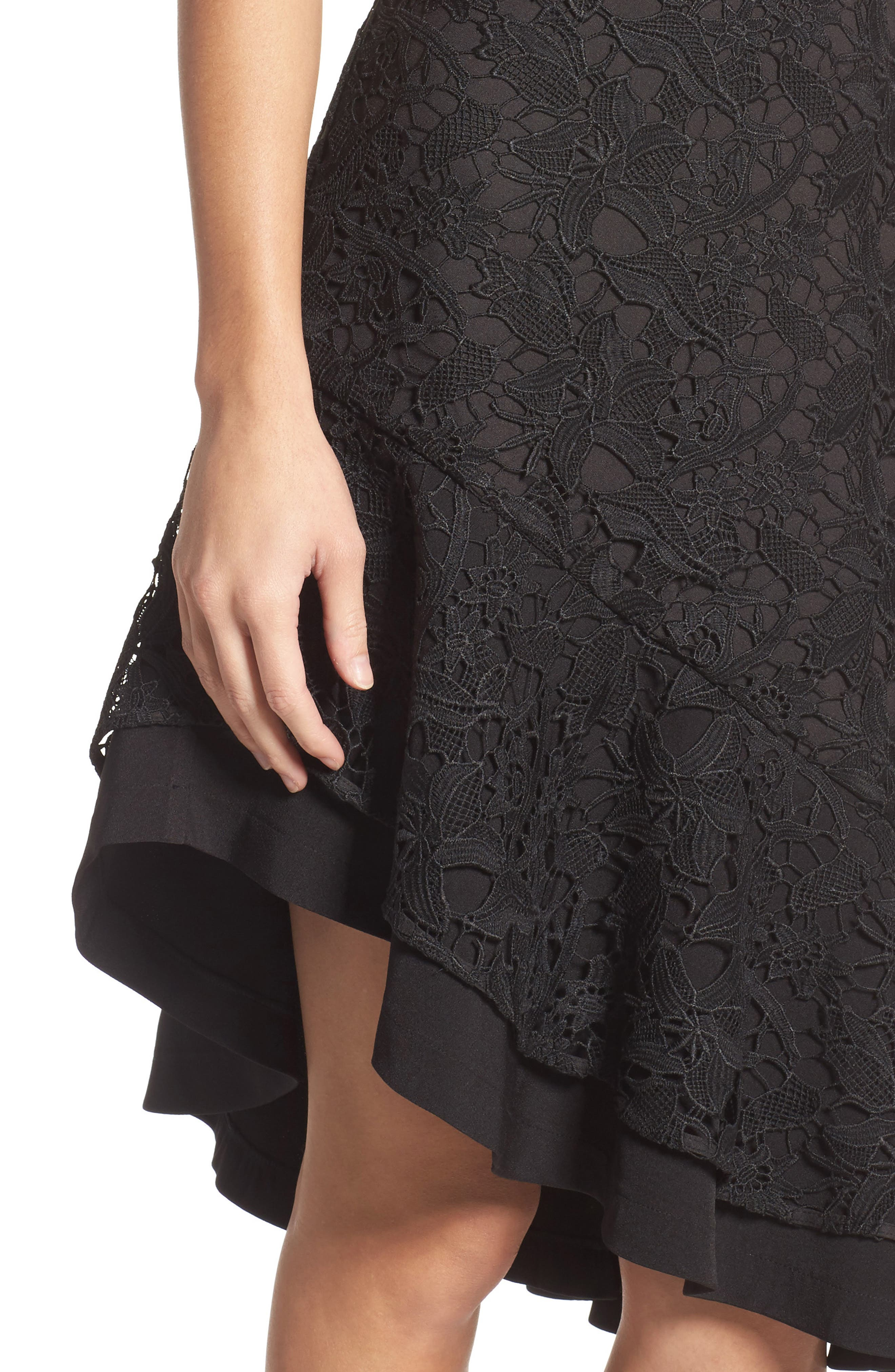Lace Asymmetrical Dress,                             Alternate thumbnail 4, color,                             Black