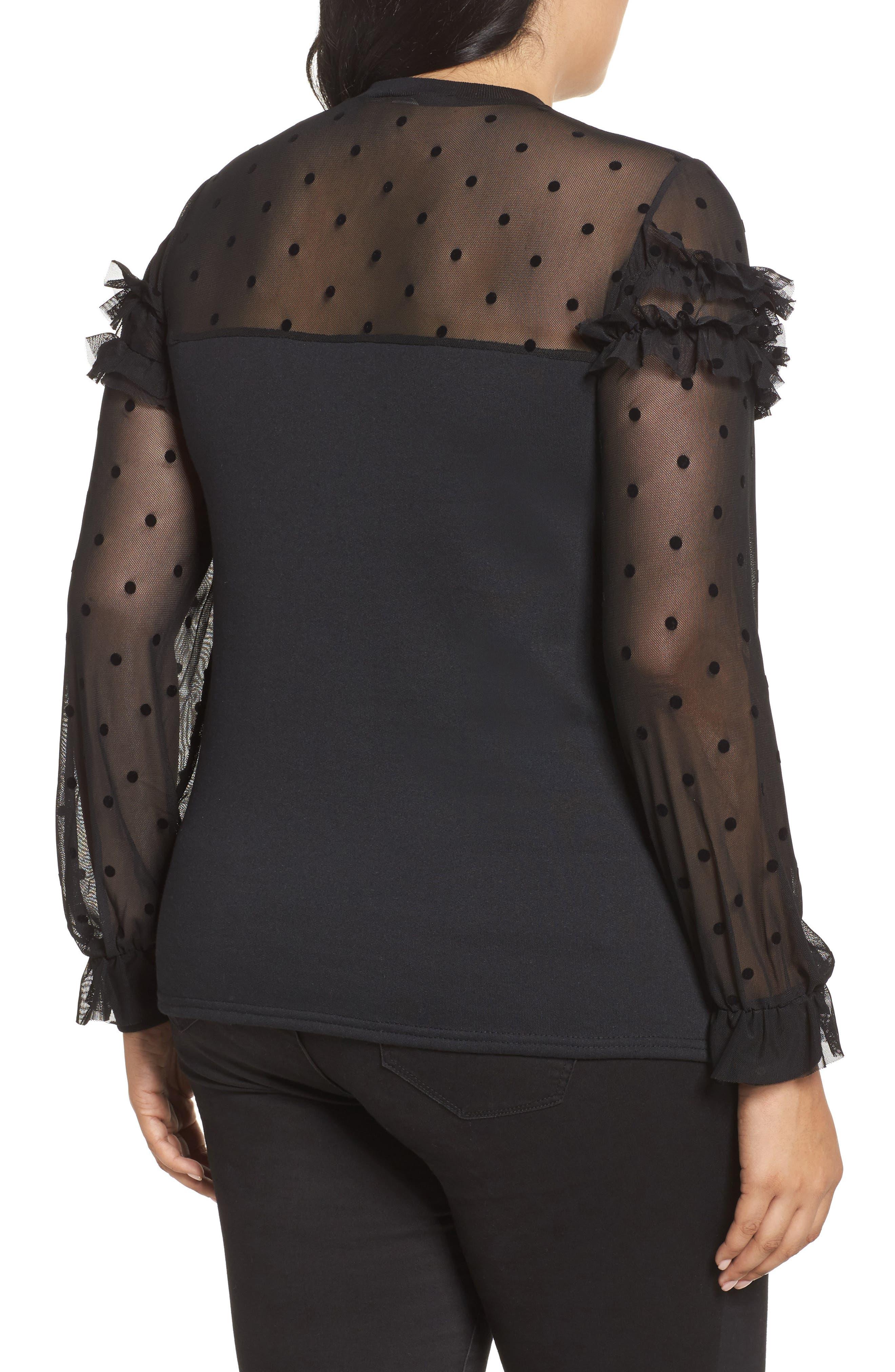 Dot Mesh Sweater,                             Alternate thumbnail 2, color,                             Black
