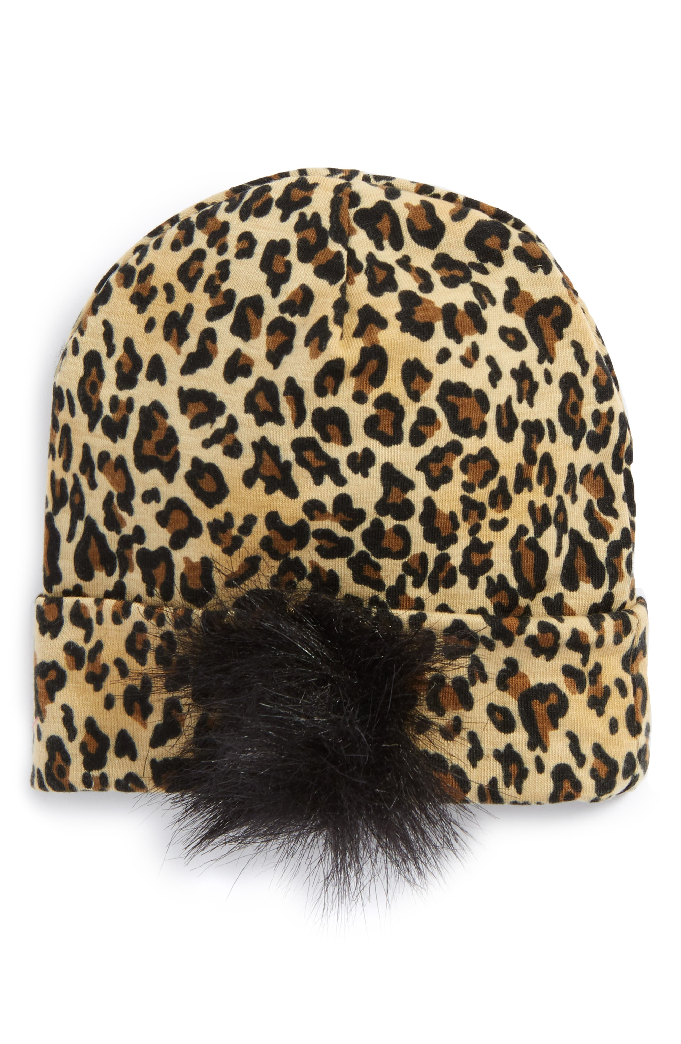 Main Image - PLH Bows & Laces Animal Print Faux Fur Beanie (Baby Girls)