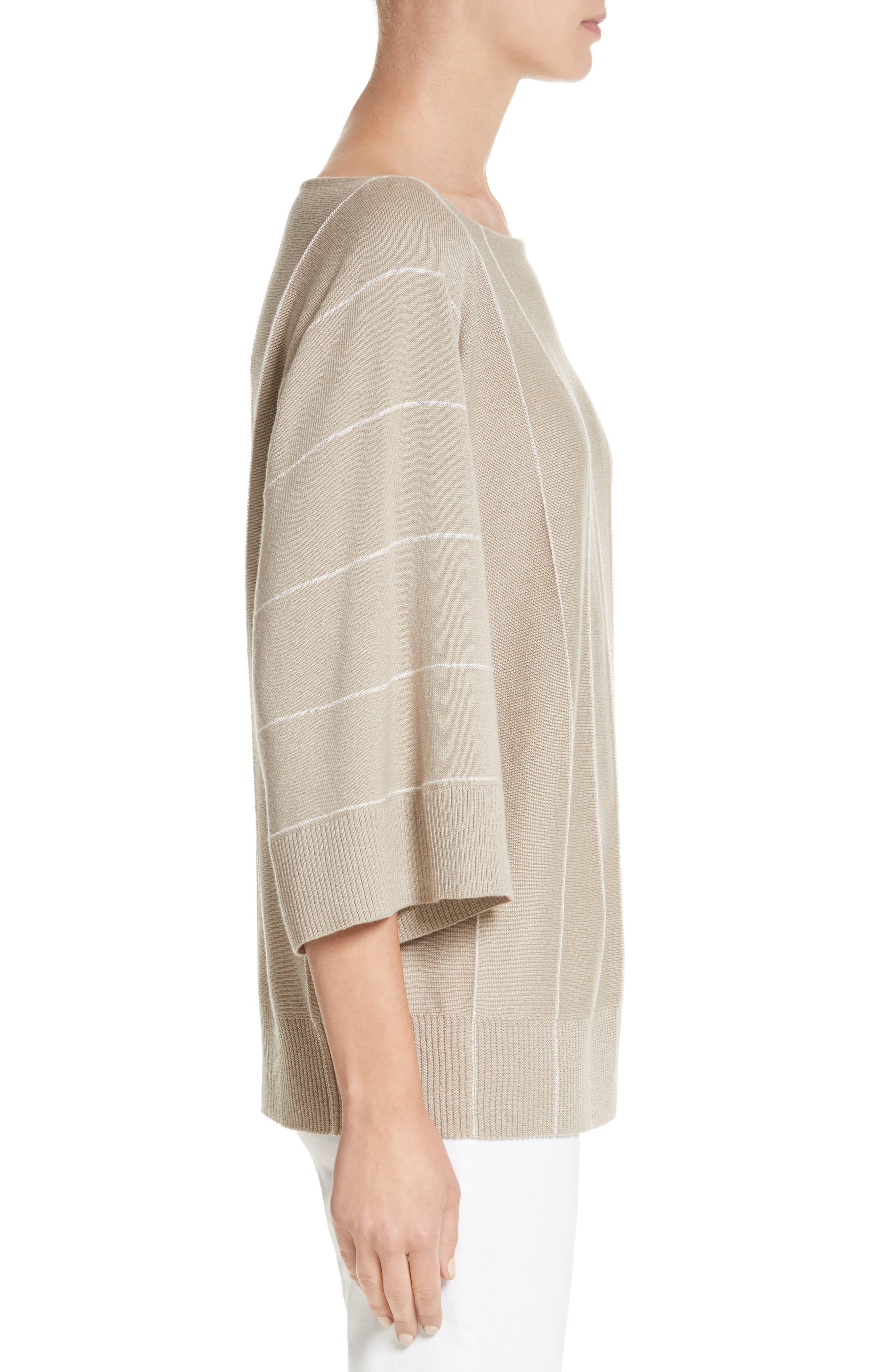 Sequin Knit Cashmere & Silk Pullover,                             Alternate thumbnail 3, color,                             Khaki Multi