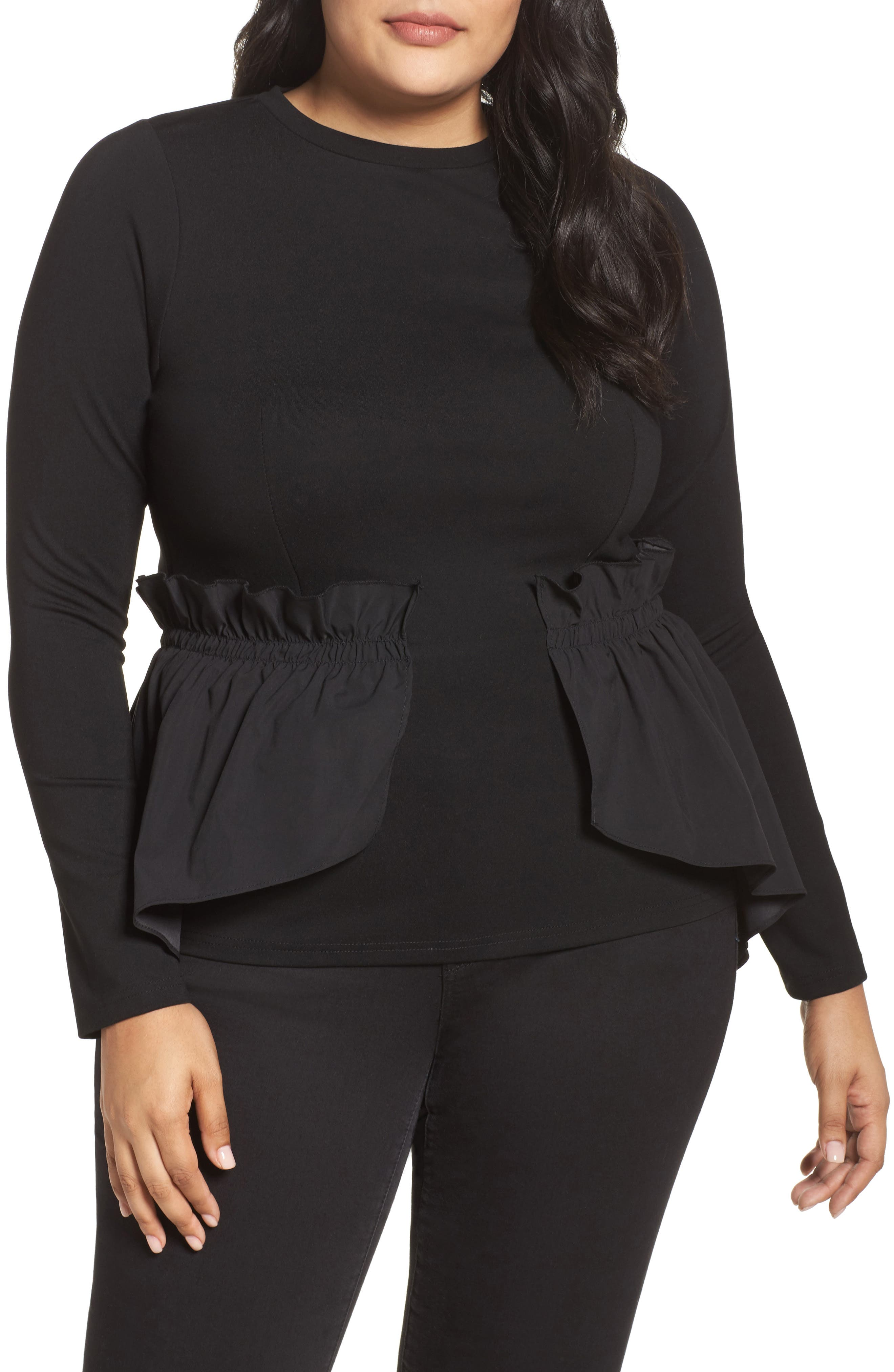 Alternate Image 1 Selected - LOST INK Shirred Waist Top (Plus Size)