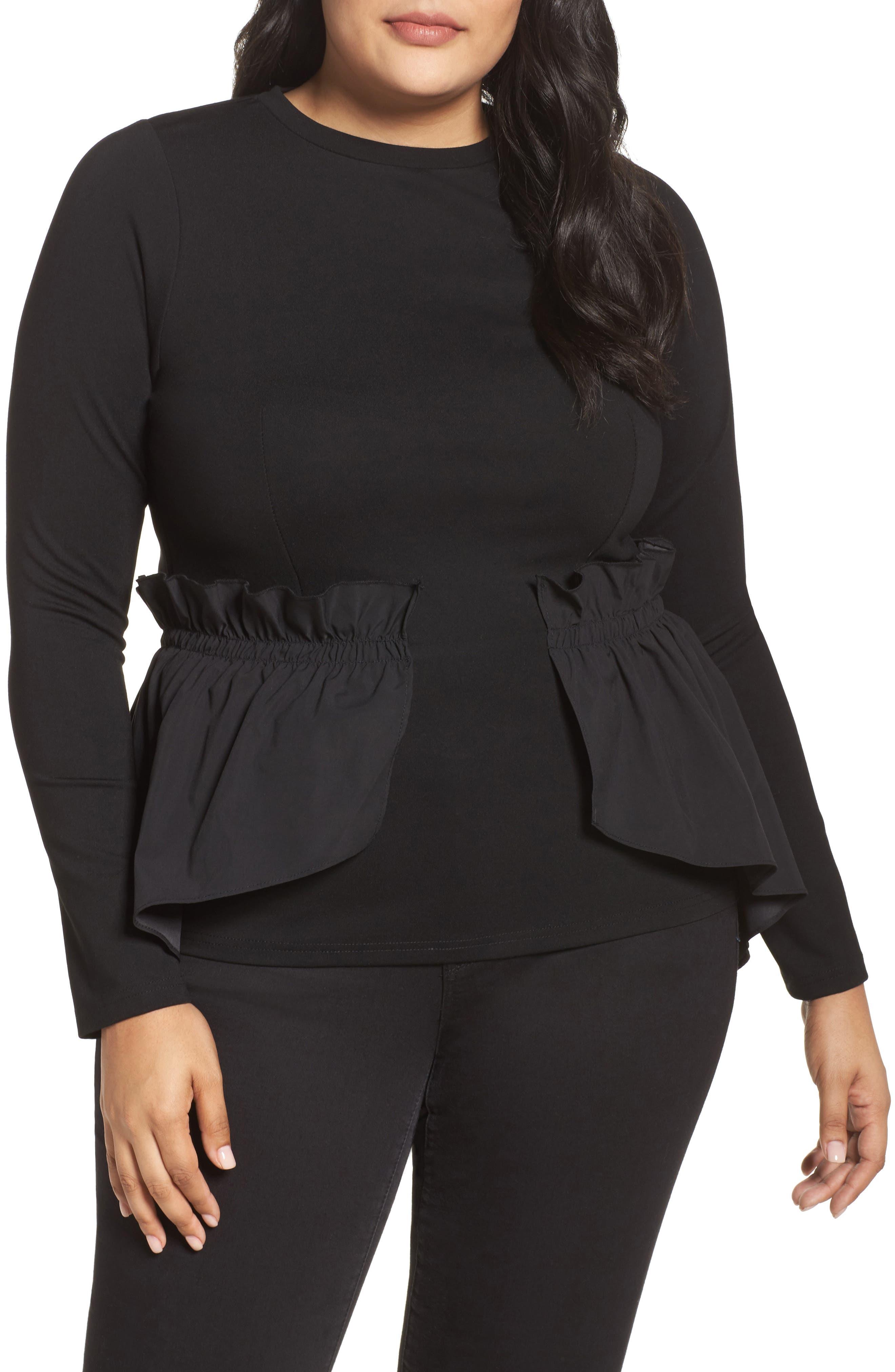 Shirred Waist Top,                         Main,                         color, Black