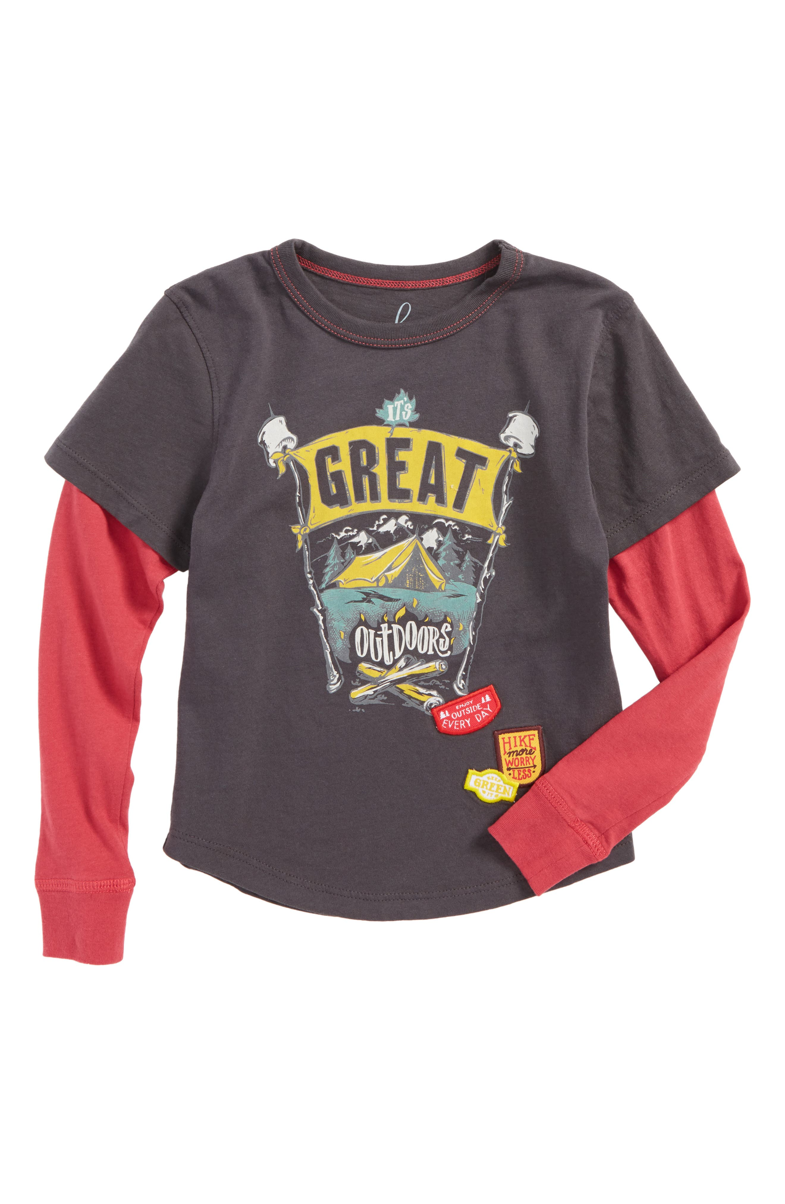 Great Outdoors Graphic Layered T-Shirt,                             Main thumbnail 1, color,                             Heather Grey