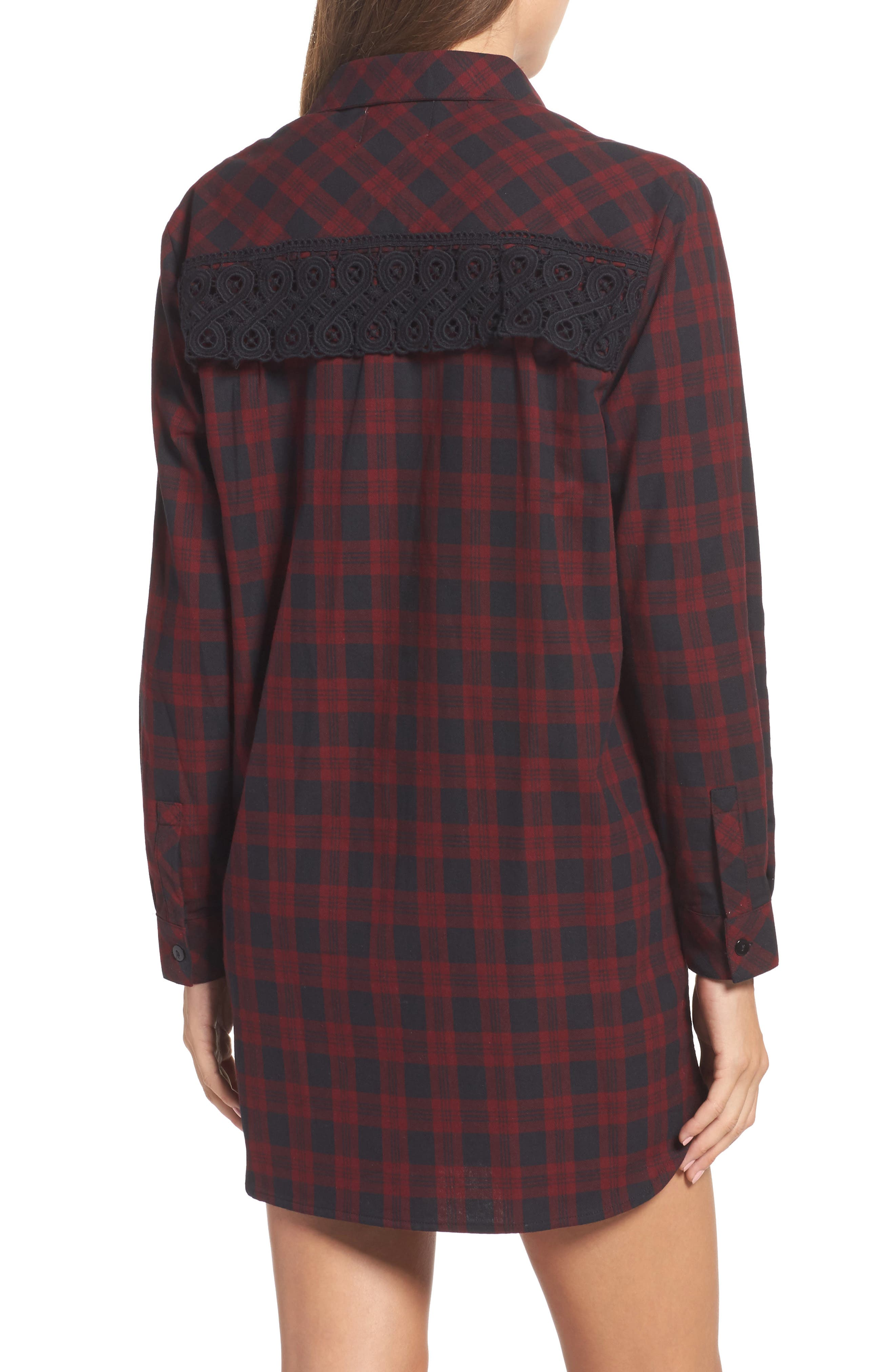 Alternate Image 2  - Sam Edelman Patch Embellished Plaid Sleep Shirt