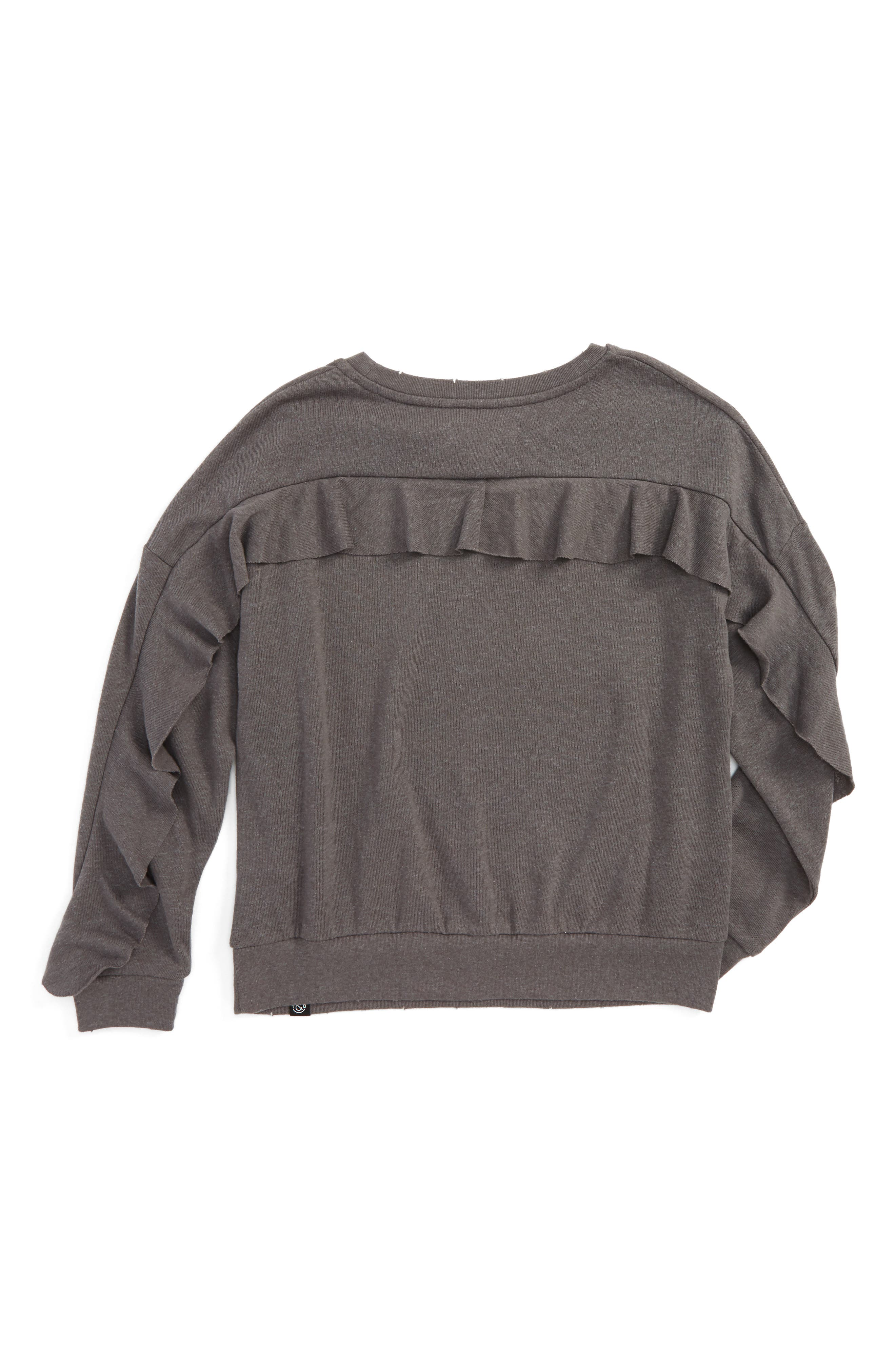 Ruffle Sweatshirt,                             Alternate thumbnail 2, color,                             Grey
