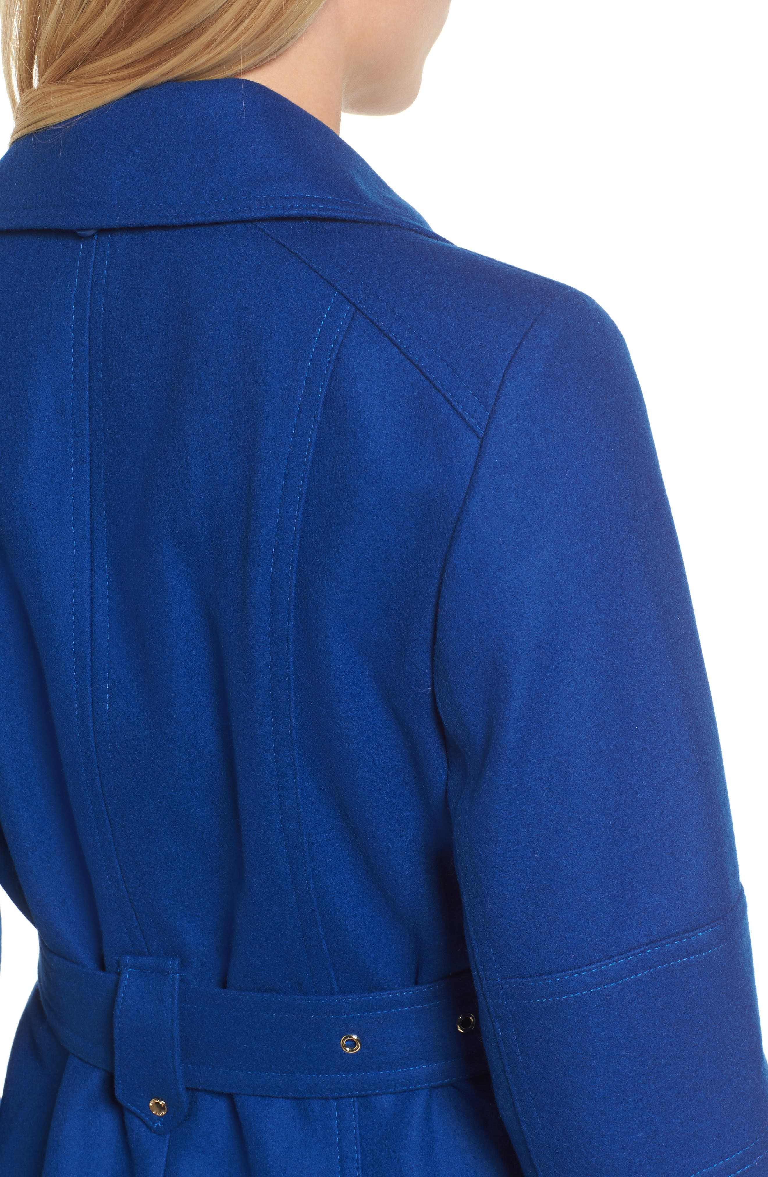 Belted Wool Blend Coat with Detachable Hood,                             Alternate thumbnail 4, color,                             Cobalt