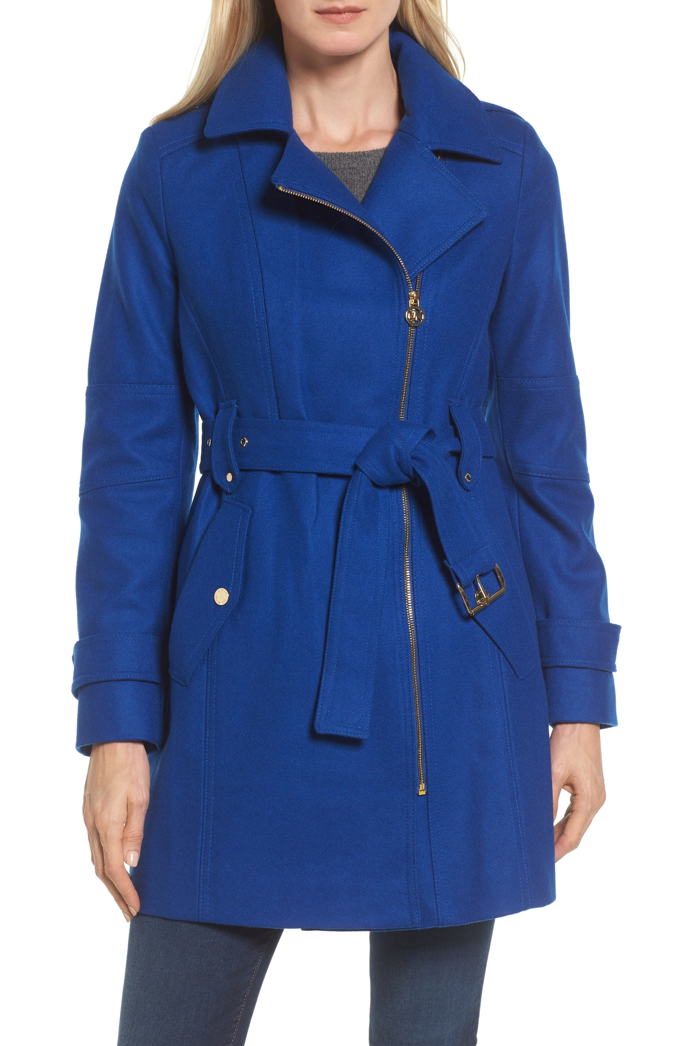 Belted Wool Blend Coat with Detachable Hood,                         Main,                         color, Cobalt