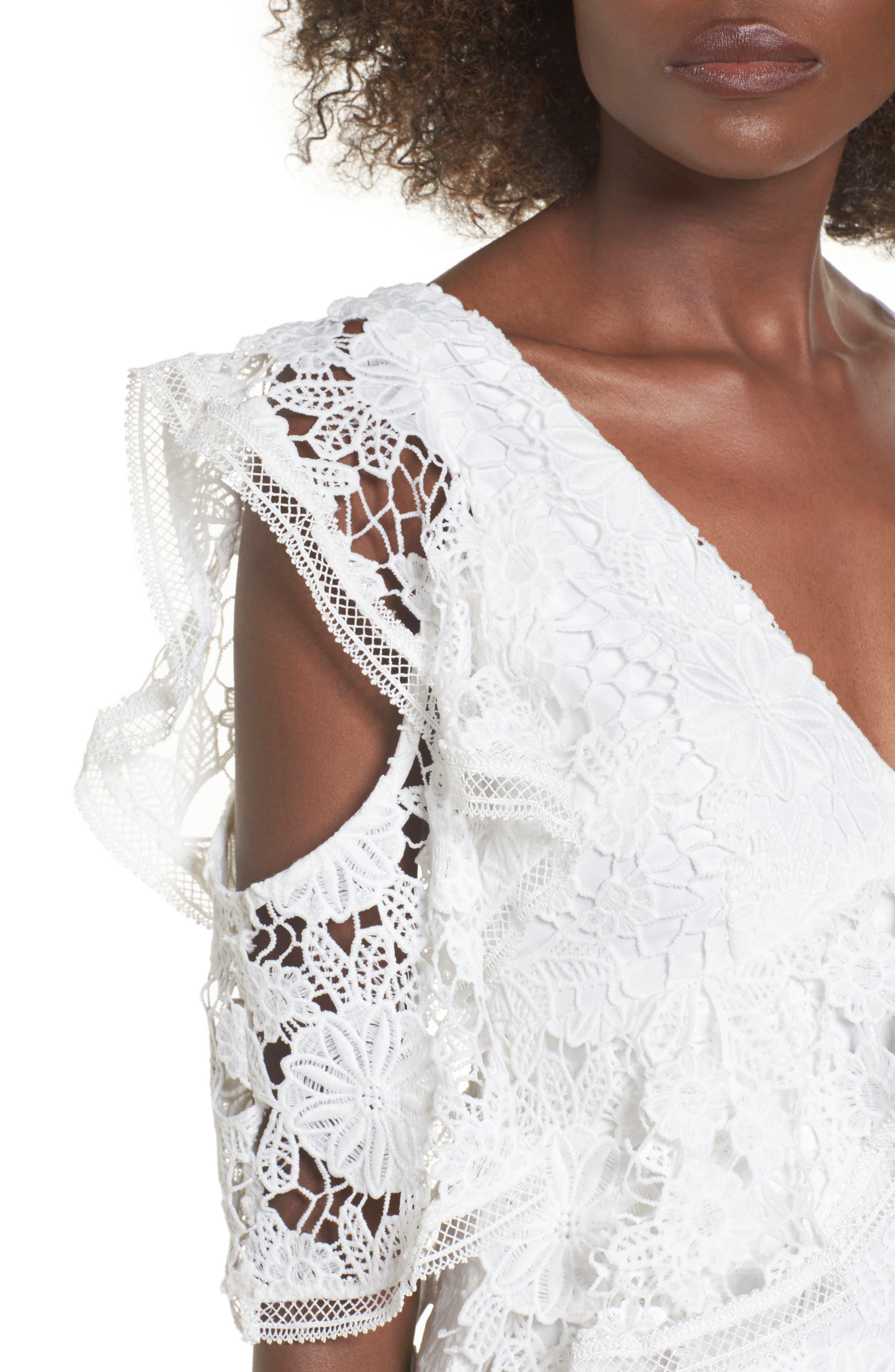 Frameless Lace Sheath Dress,                             Alternate thumbnail 5, color,                             Ivory