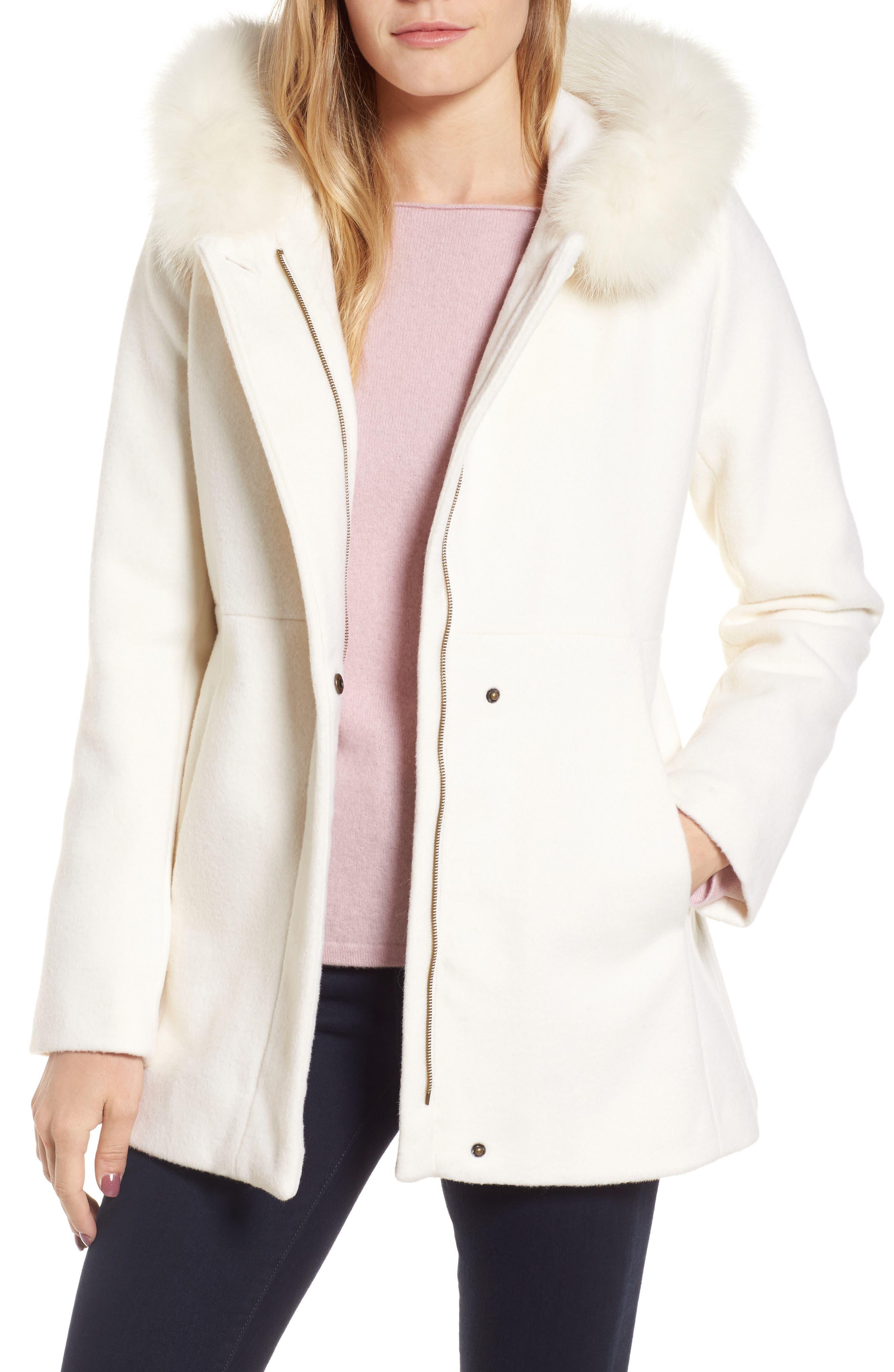 Sachi Genuine Fox Fur Trim Hooded Wool Blend Coat