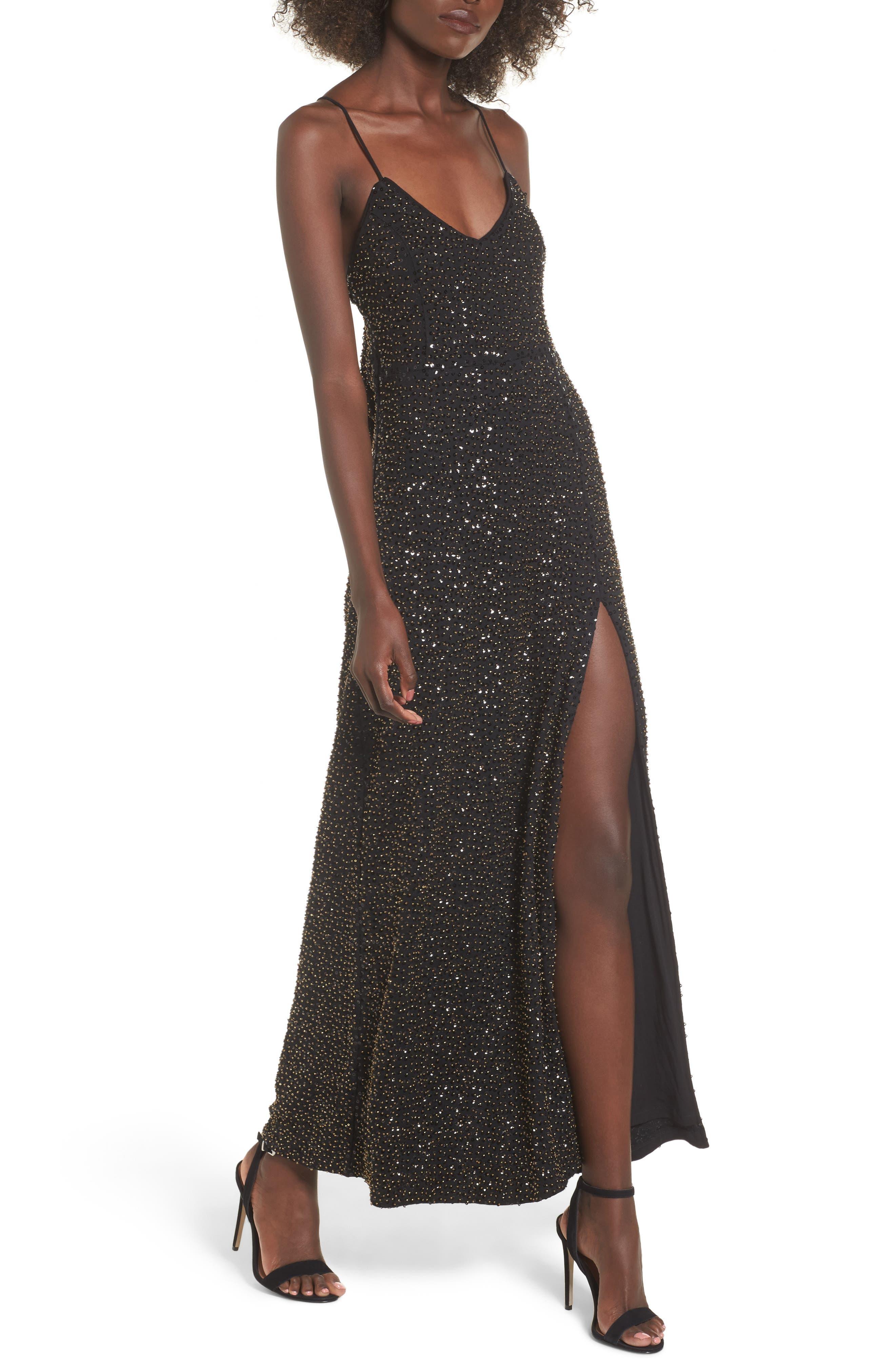 Gracen Maxi Dress,                             Main thumbnail 1, color,                             Black/ Brass