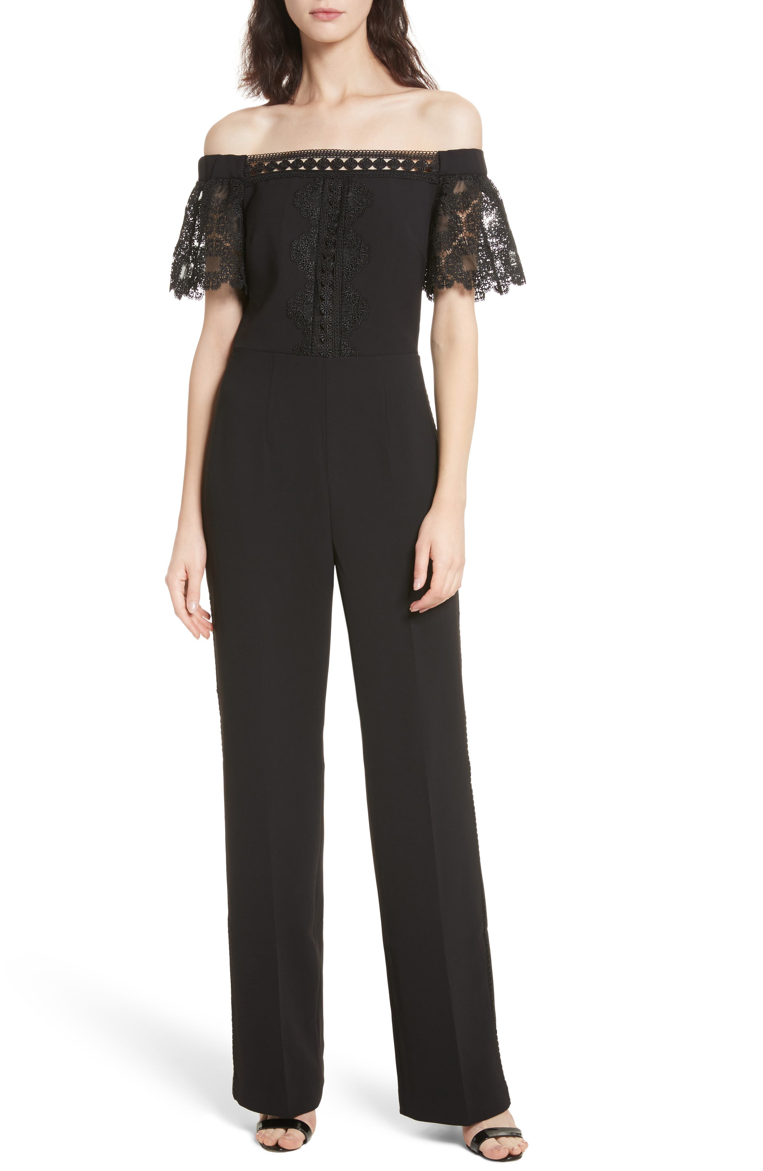 Main Image - Ted Baker London Off the Shoulder Geo Lace Jumpsuit