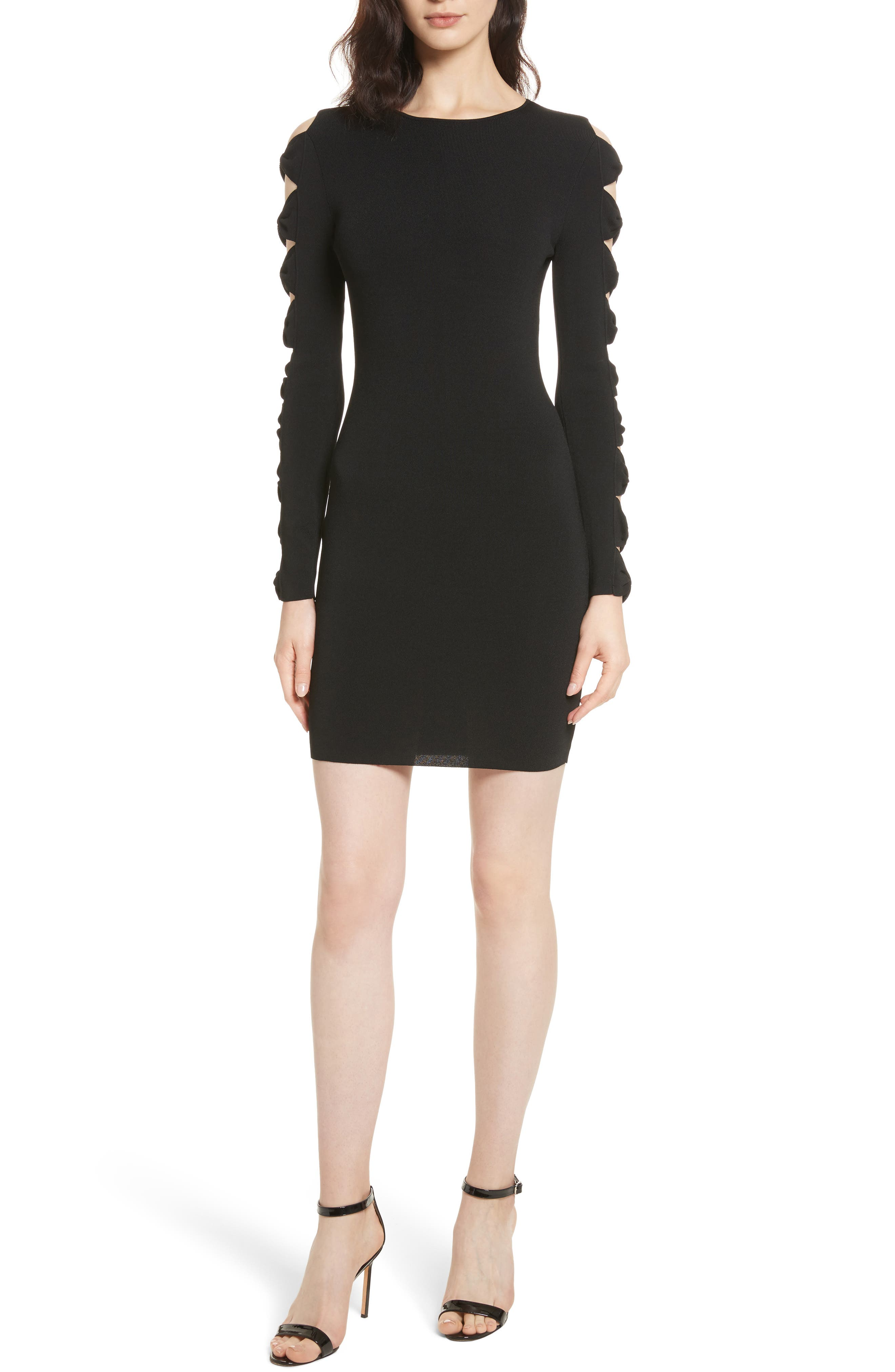 Knotted Sleeve Body-Con Dress,                         Main,                         color, Black
