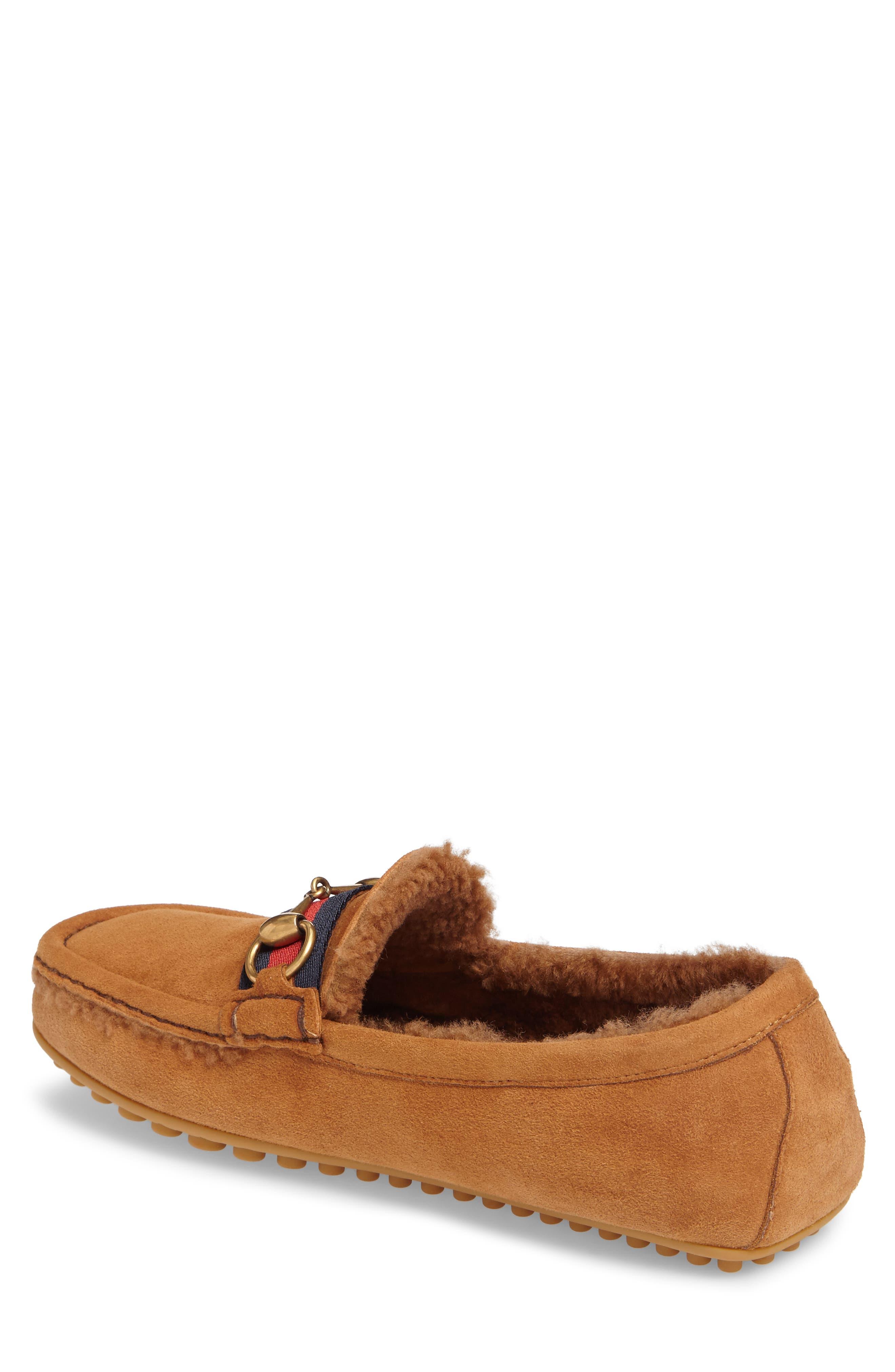 Driving Shoe with Genuine Shearling,                             Alternate thumbnail 2, color,                             Dark Tan