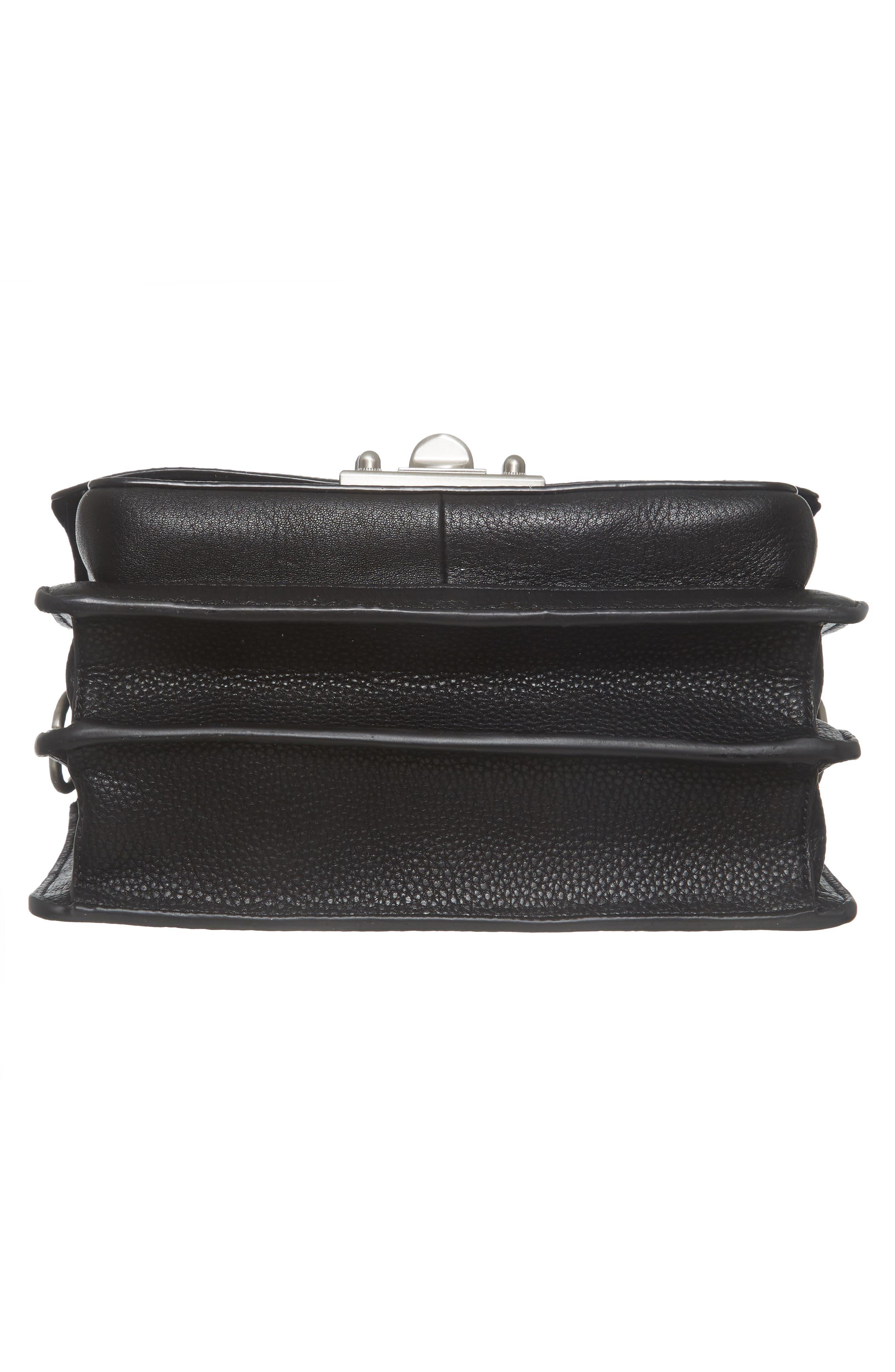Gessica Leather Shoulder Bag,                             Alternate thumbnail 5, color,                             Black