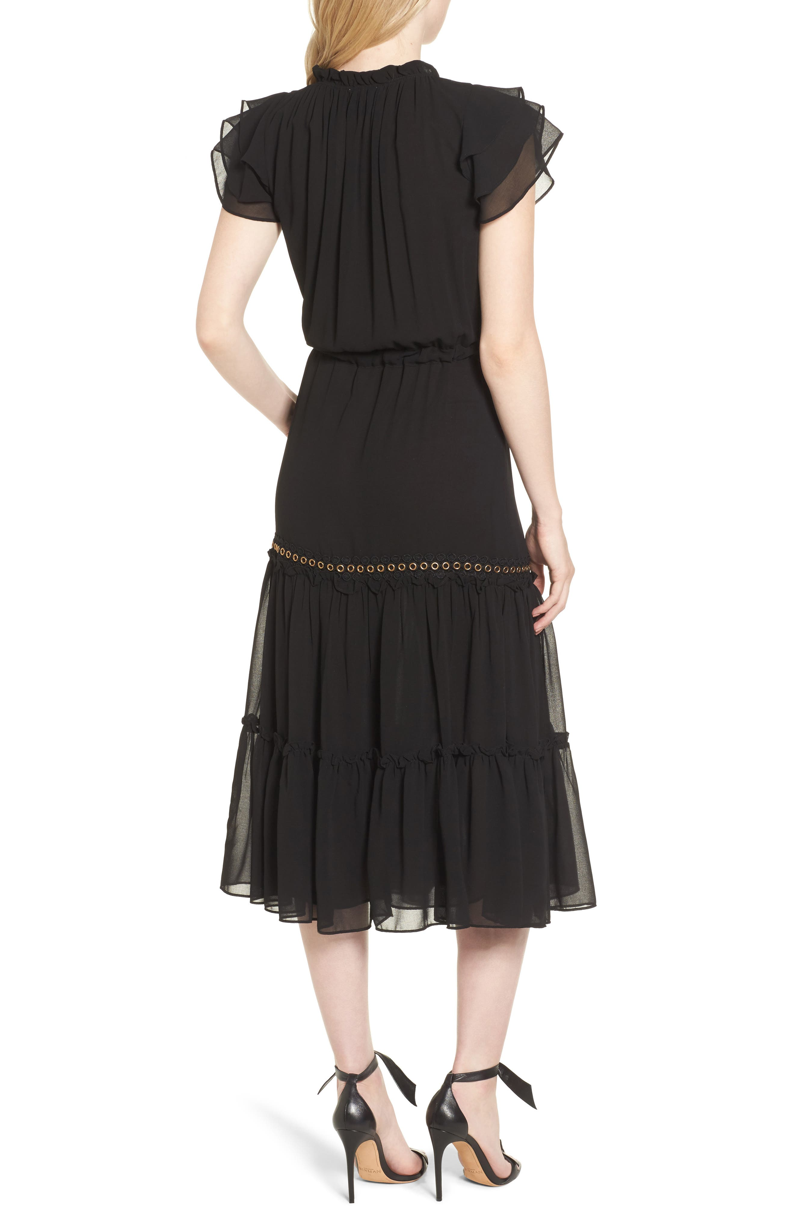 Anis Midi Dress,                             Alternate thumbnail 2, color,                             Ink Black